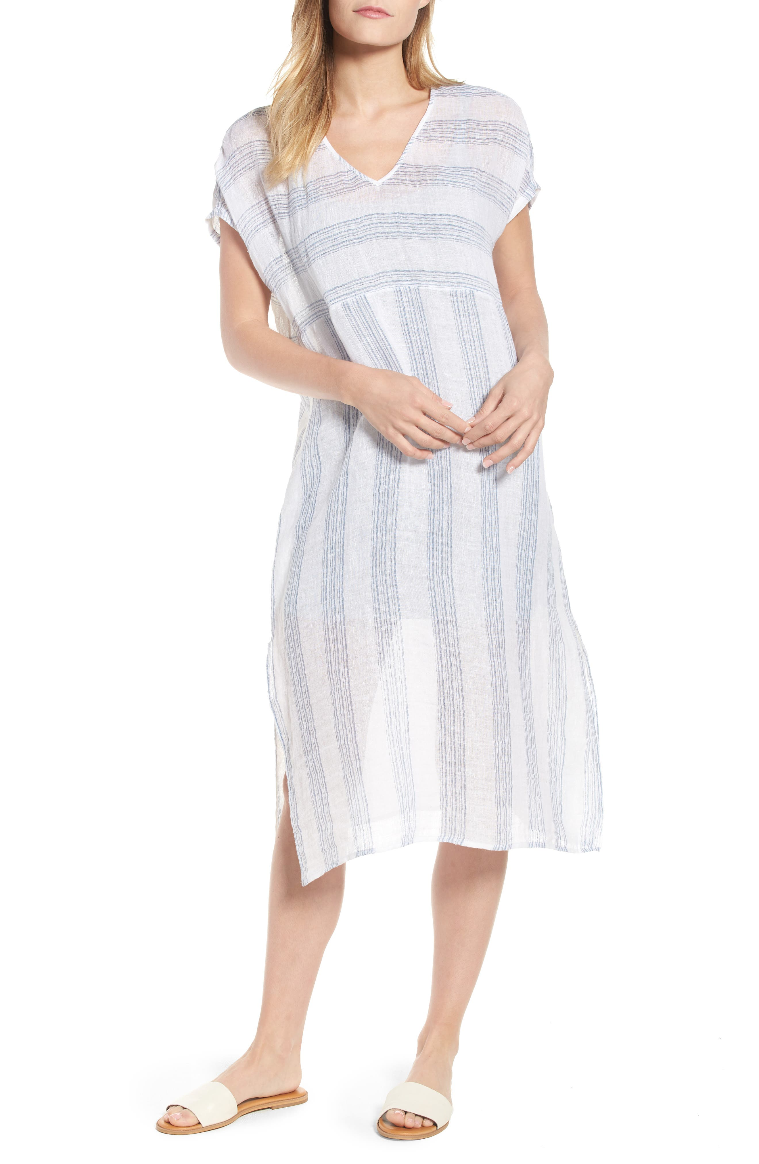 Eileen Fisher Stripe Organic Linen Shift Dress (Regular & Petite)