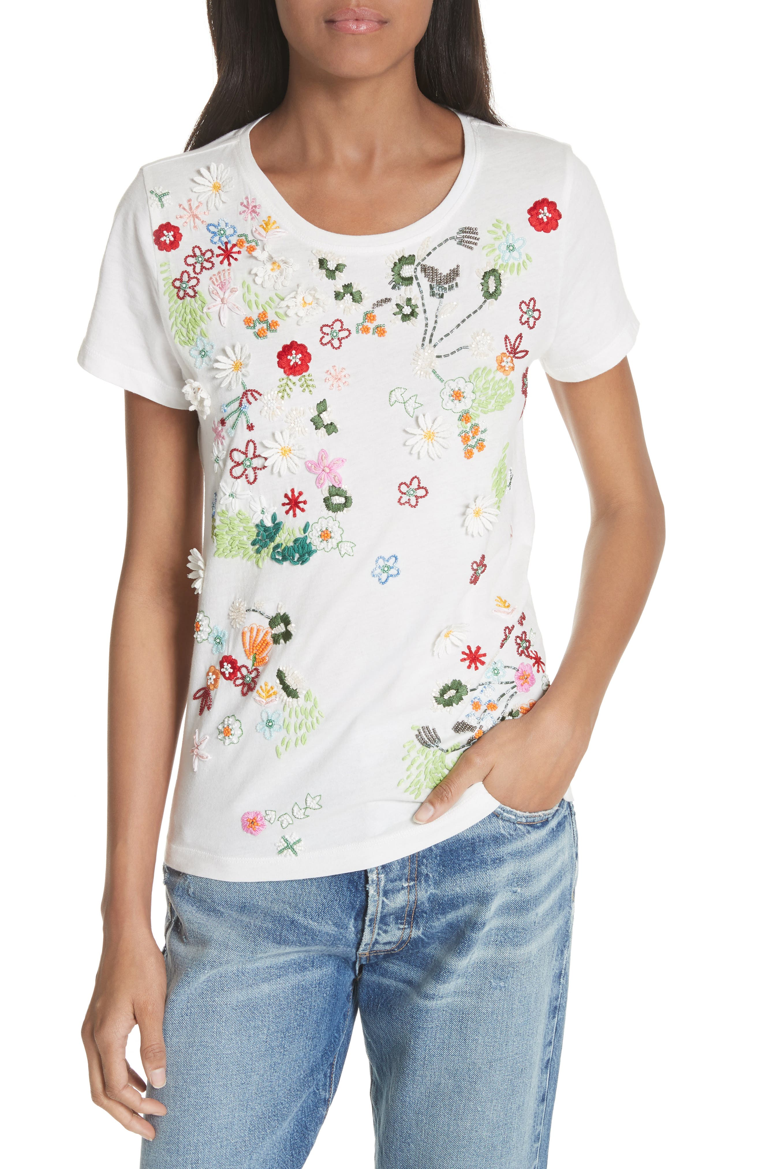 Rylyn Embellished Short Sleeve Tee,                         Main,                         color, Off White/ Multi