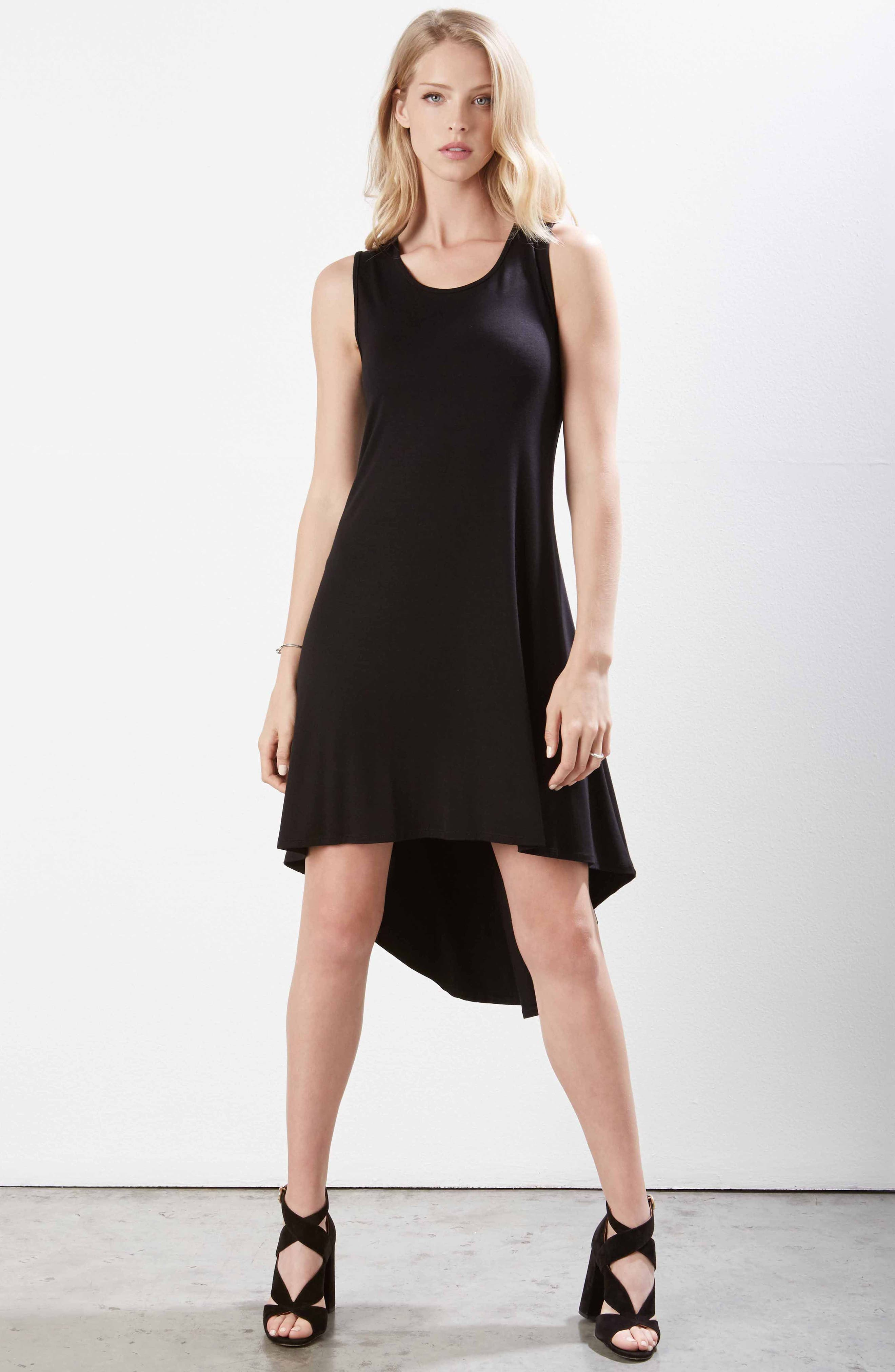 Charlie High/Low Stretch Jersey Dress,                             Alternate thumbnail 3, color,                             Black