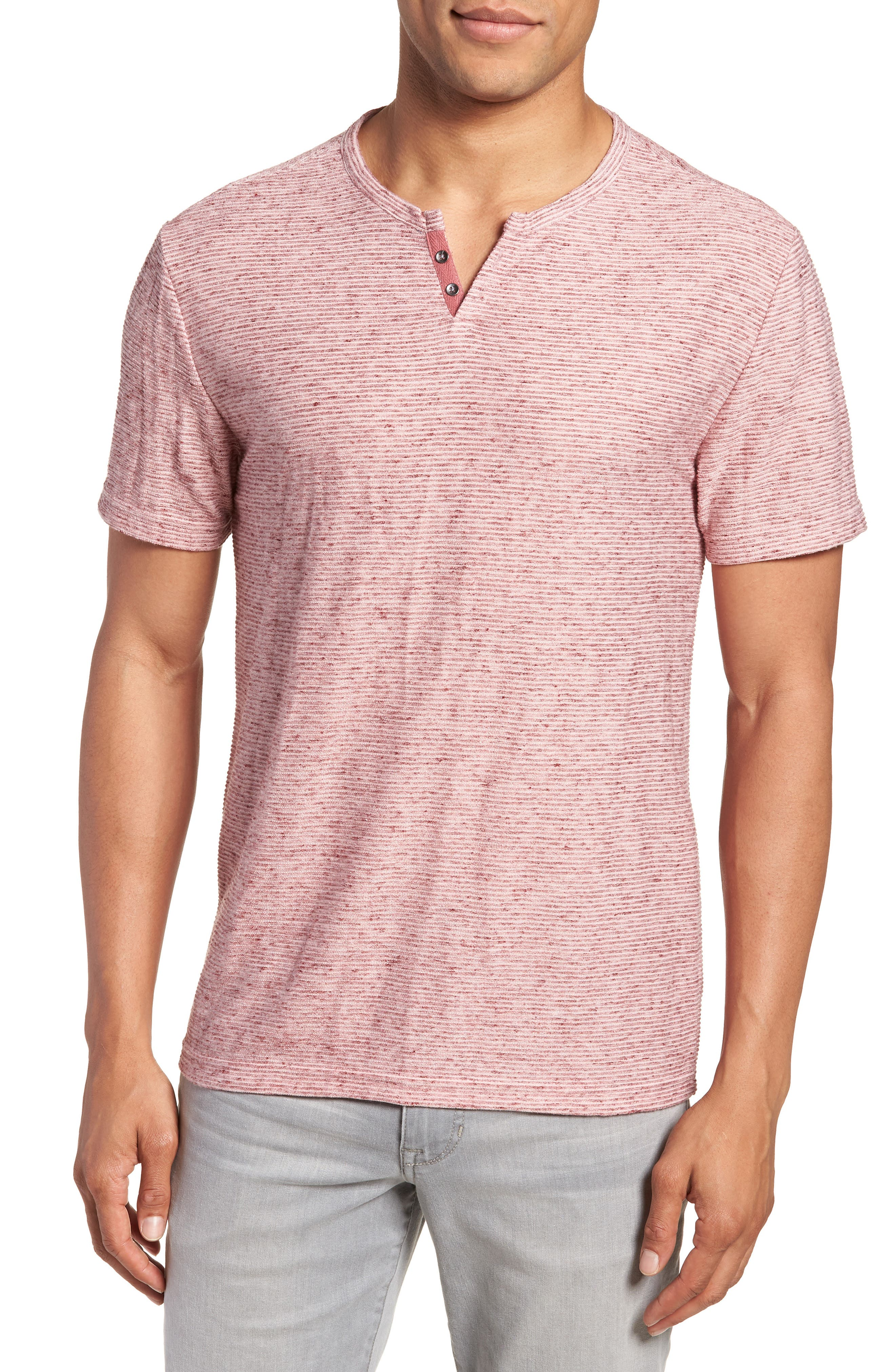 Metro Textured Henley Shirt,                         Main,                         color, Red