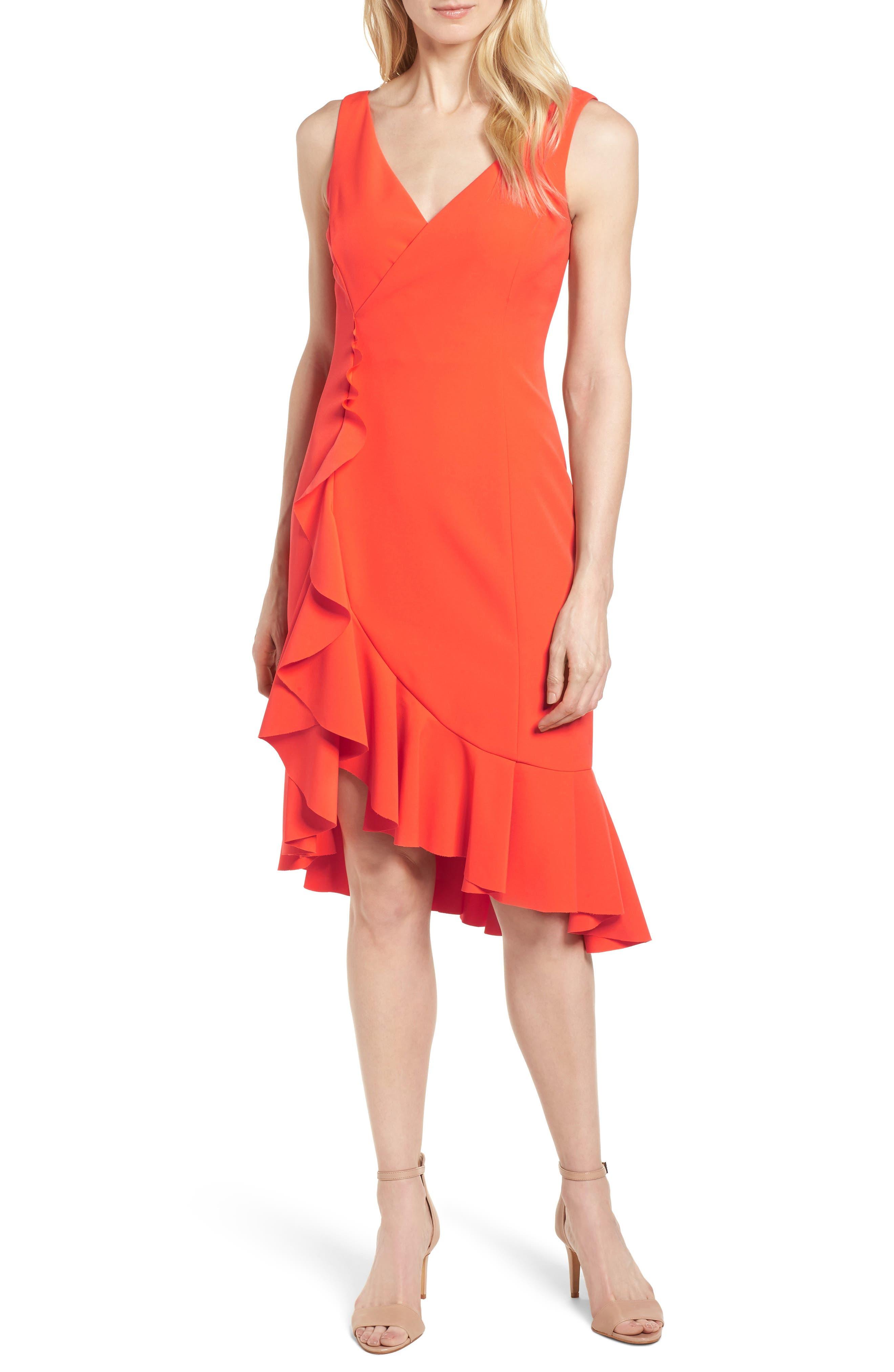 Laguna Ruffle Sheath Dress,                         Main,                         color, Orange