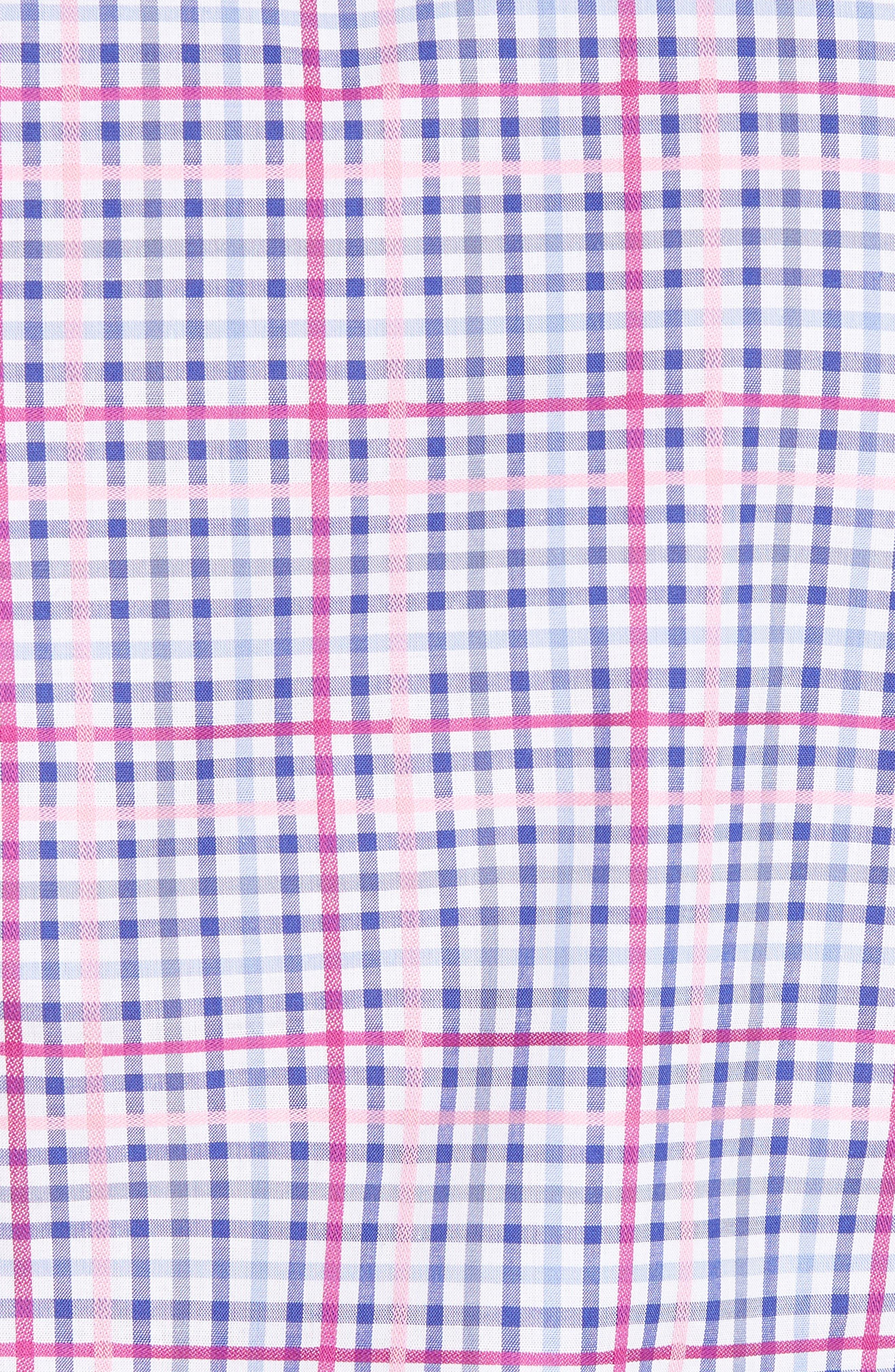 Aidren Regular Fit Plaid Sport Shirt,                             Alternate thumbnail 5, color,                             Pink
