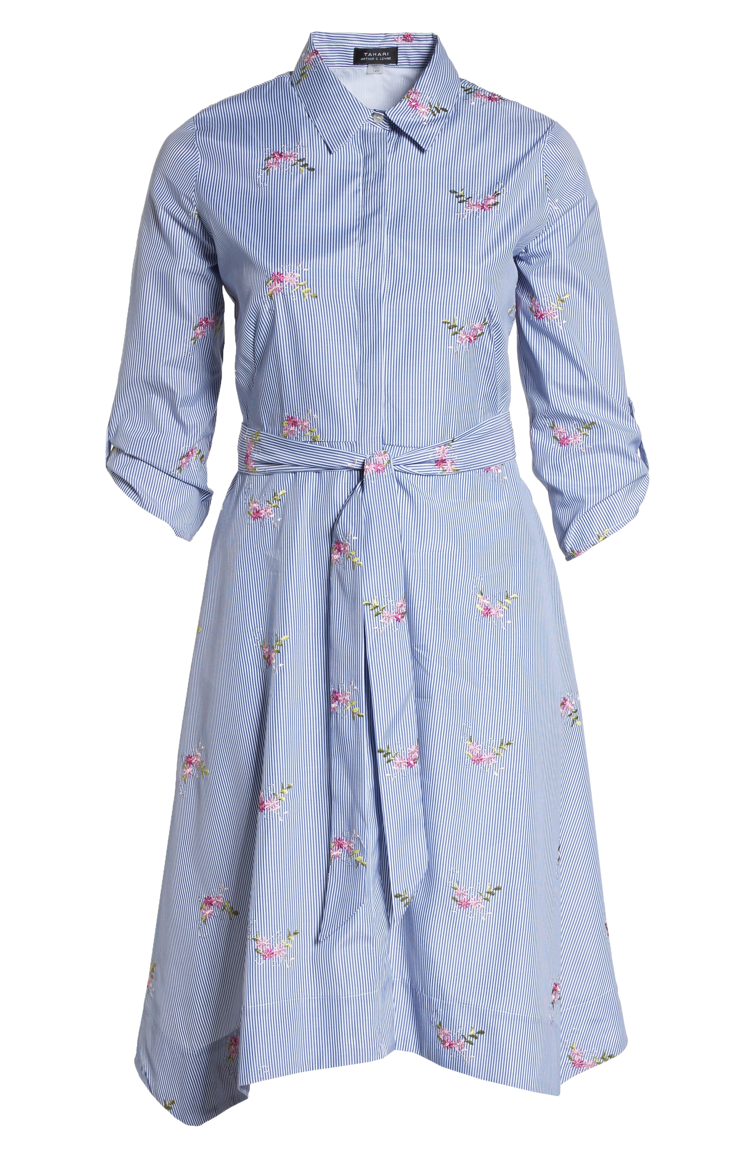 Embroidered Stripe Shirtdress,                             Alternate thumbnail 6, color,                             Navy/ White/ Pink