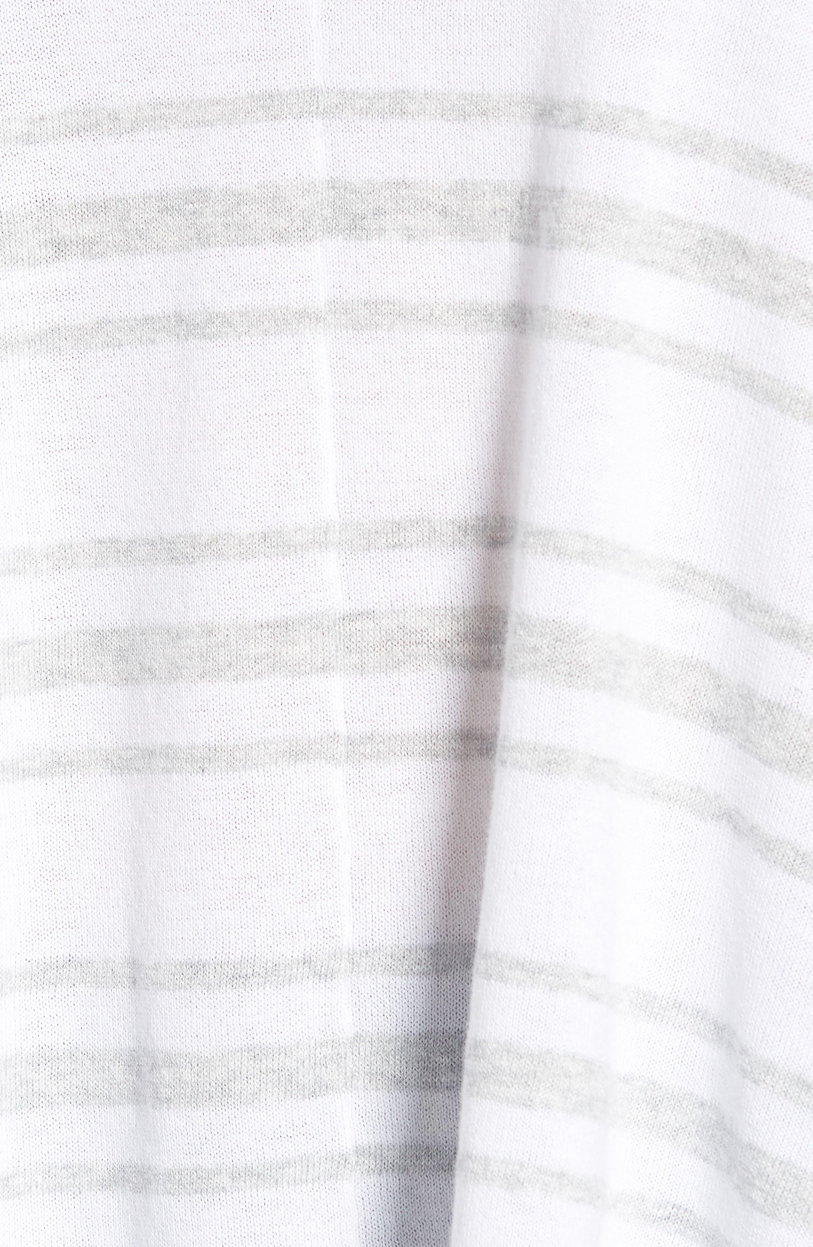 Oversize Sleeve Stripe V-Neck Sweater,                             Alternate thumbnail 6, color,                             Warm White Pebble Grey Mix