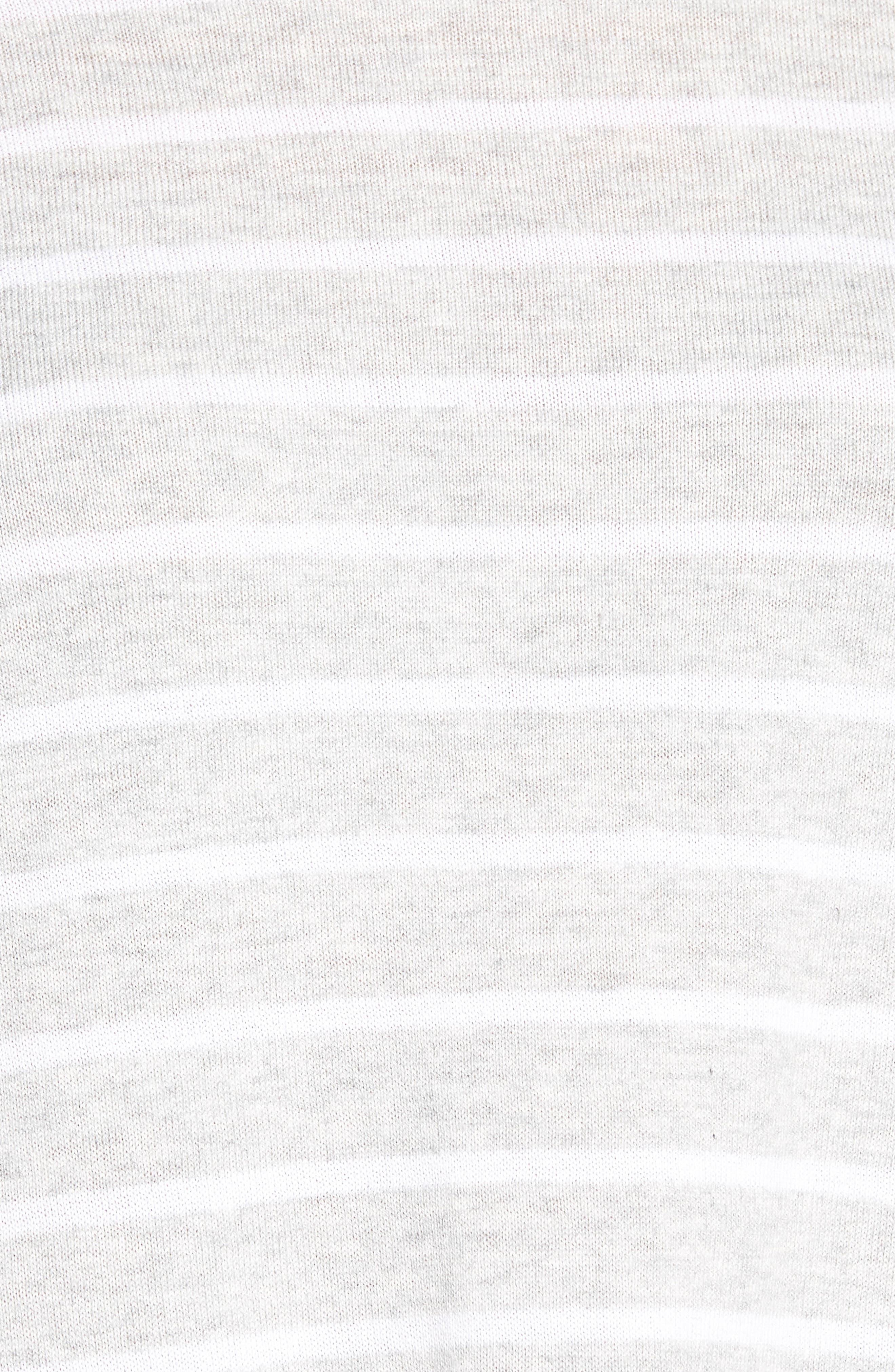Cotton Blend Stripe Trapeze Cotton Blend Sweater,                             Alternate thumbnail 6, color,                             Pebble Grey Mix Warm White