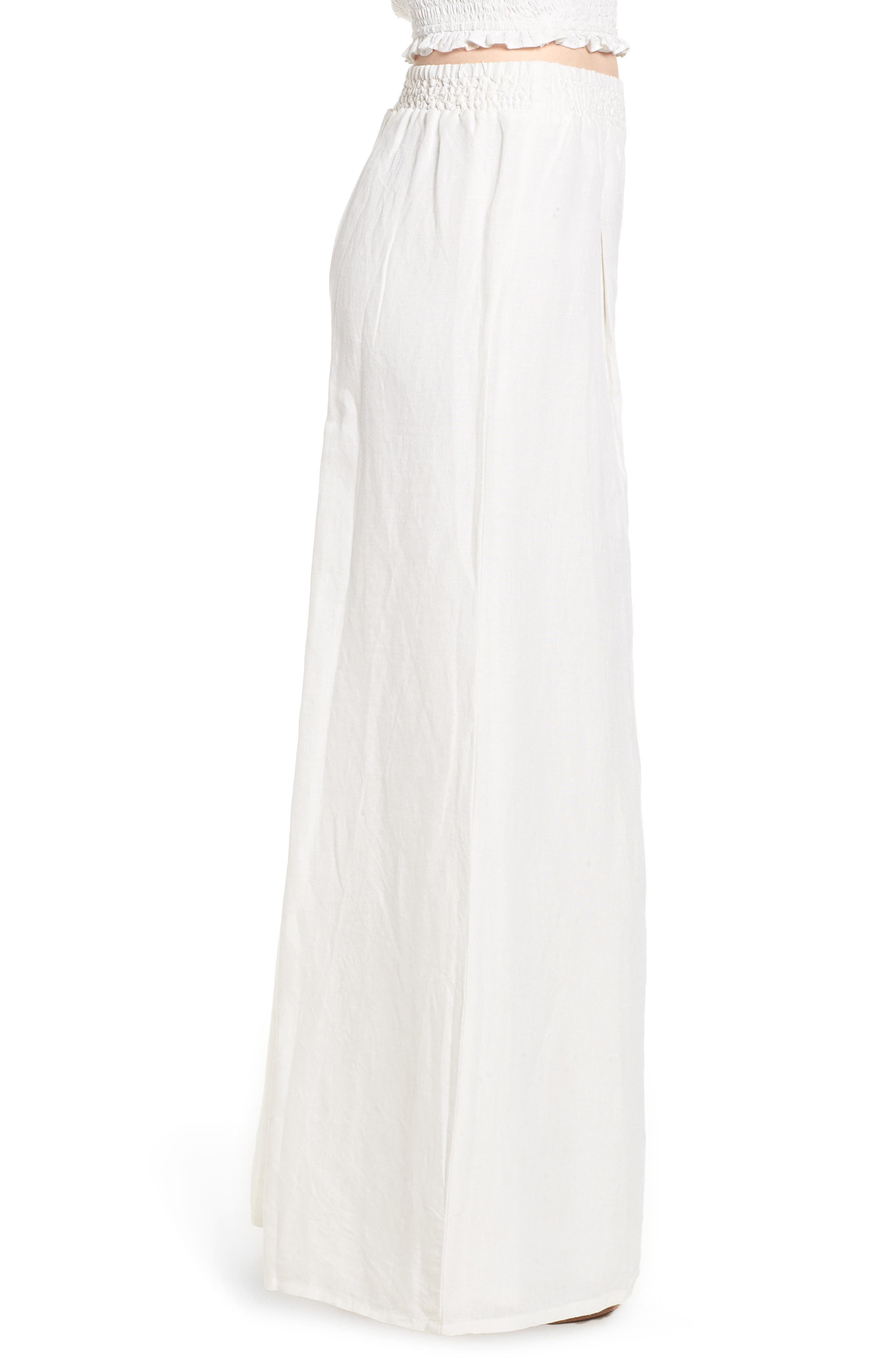 High Roads Smocked Wide Leg Pants,                             Alternate thumbnail 3, color,                             Cool Whip