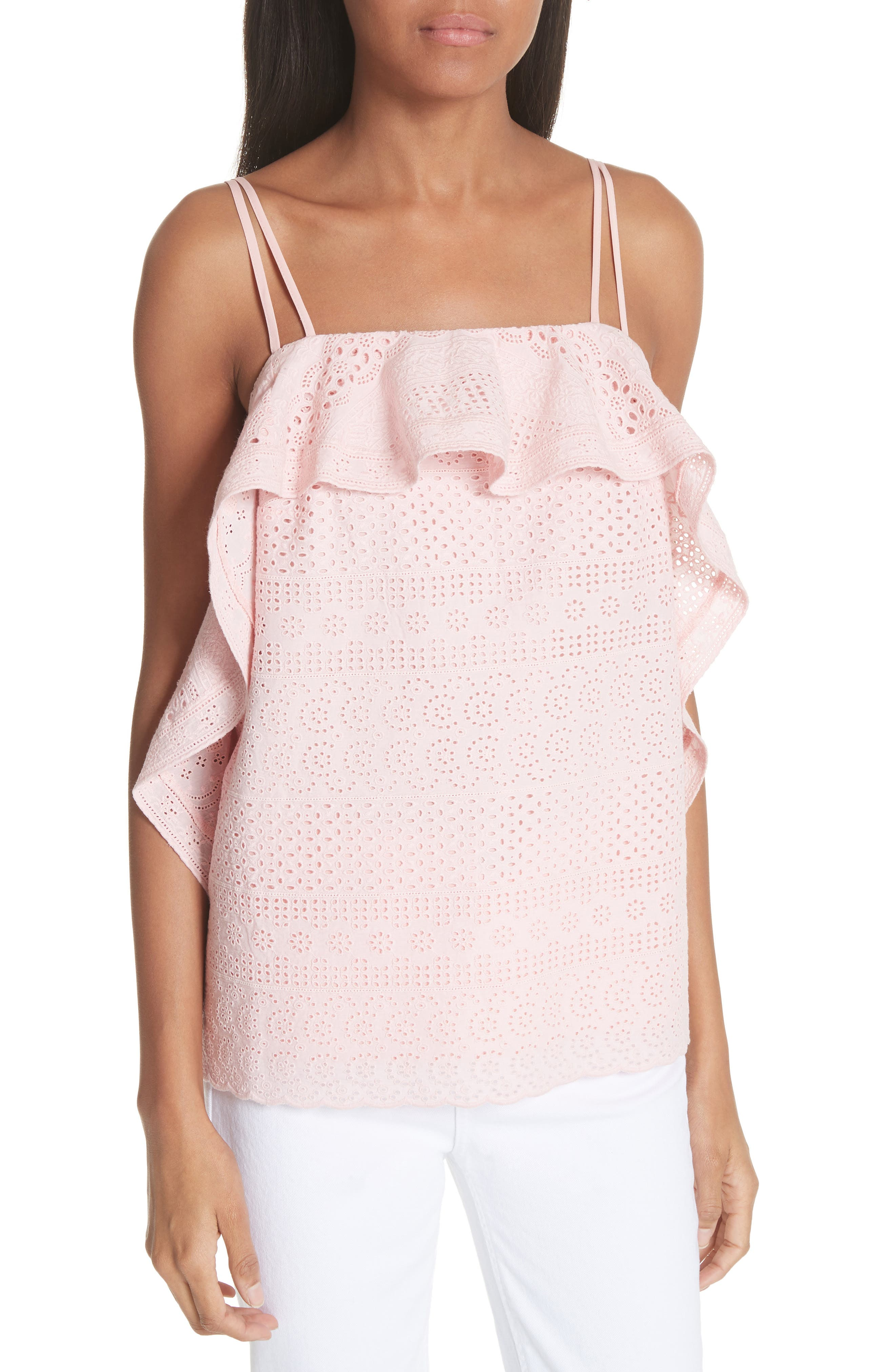 Deconstructed Broderie Top,                         Main,                         color, Pink