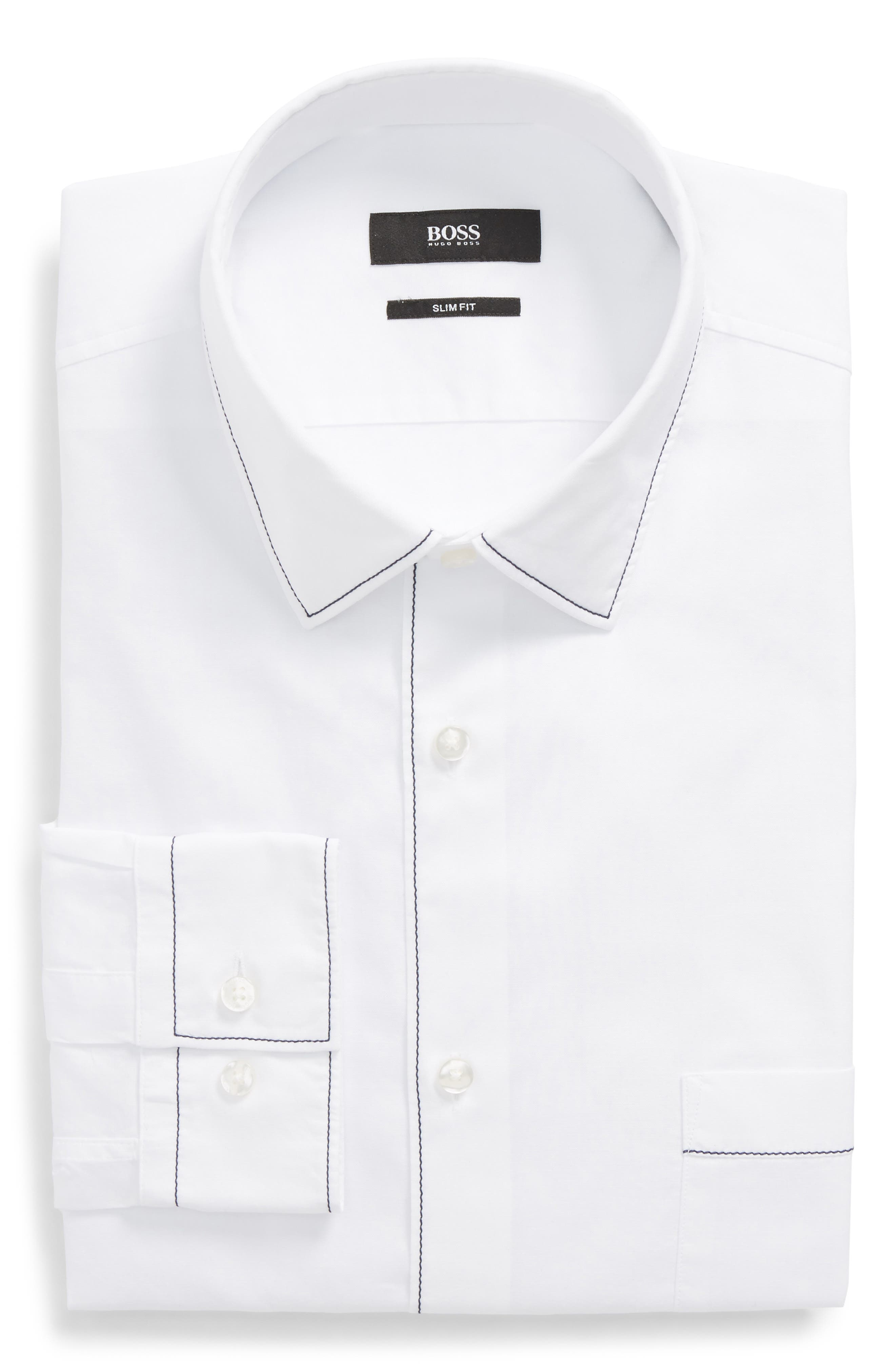 Jose Slim Fit Solid Dress Shirt,                         Main,                         color, White