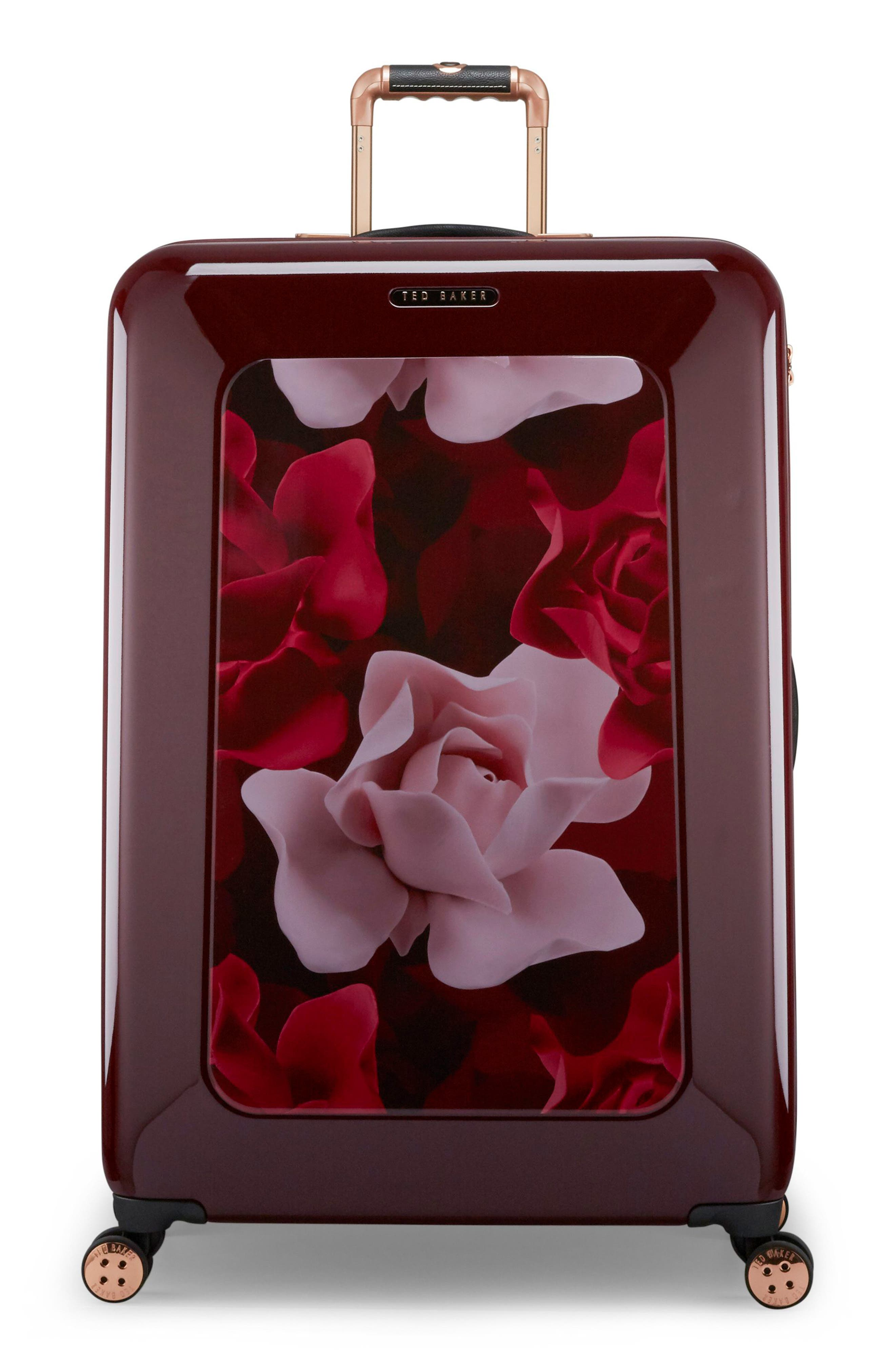 Large Porcelain Rose 31-Inch Hard Shell Spinner Suitcase,                             Main thumbnail 1, color,                             Burgundy