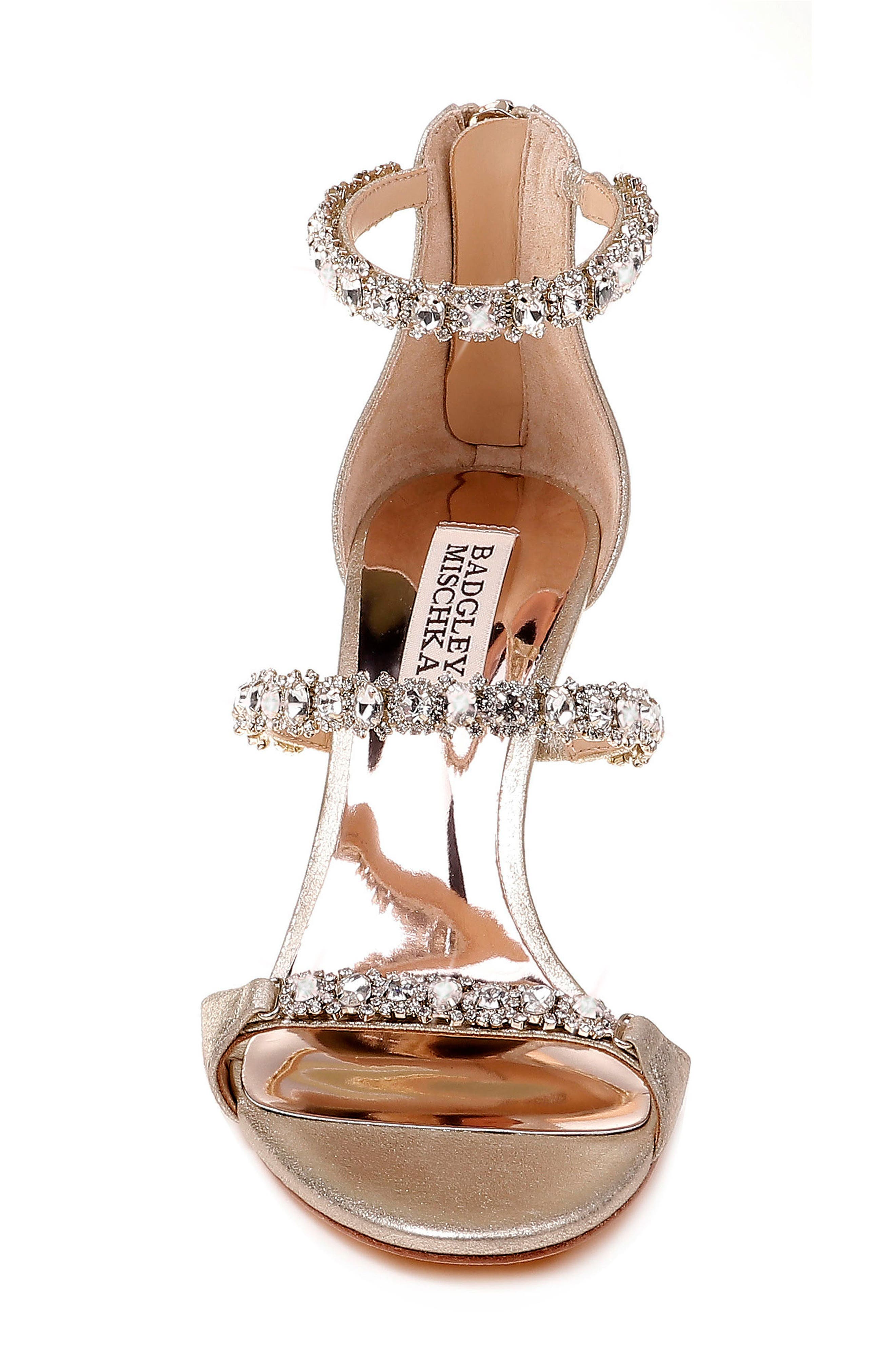Yasmine Crystal Embellished Sandal,                             Alternate thumbnail 4, color,                             Latte Satin