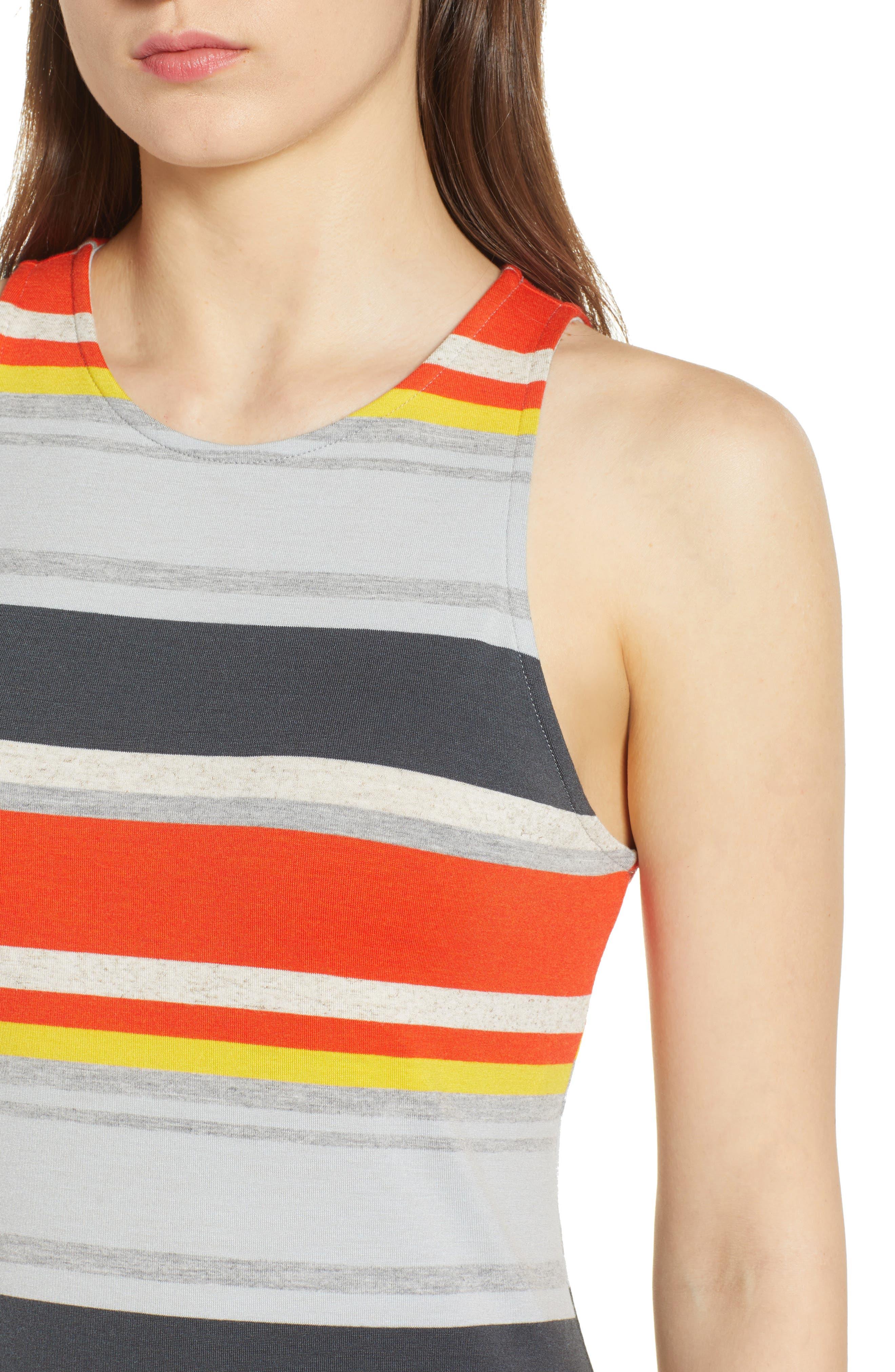 Stripe Midi Dress,                             Alternate thumbnail 4, color,                             Orange Multi
