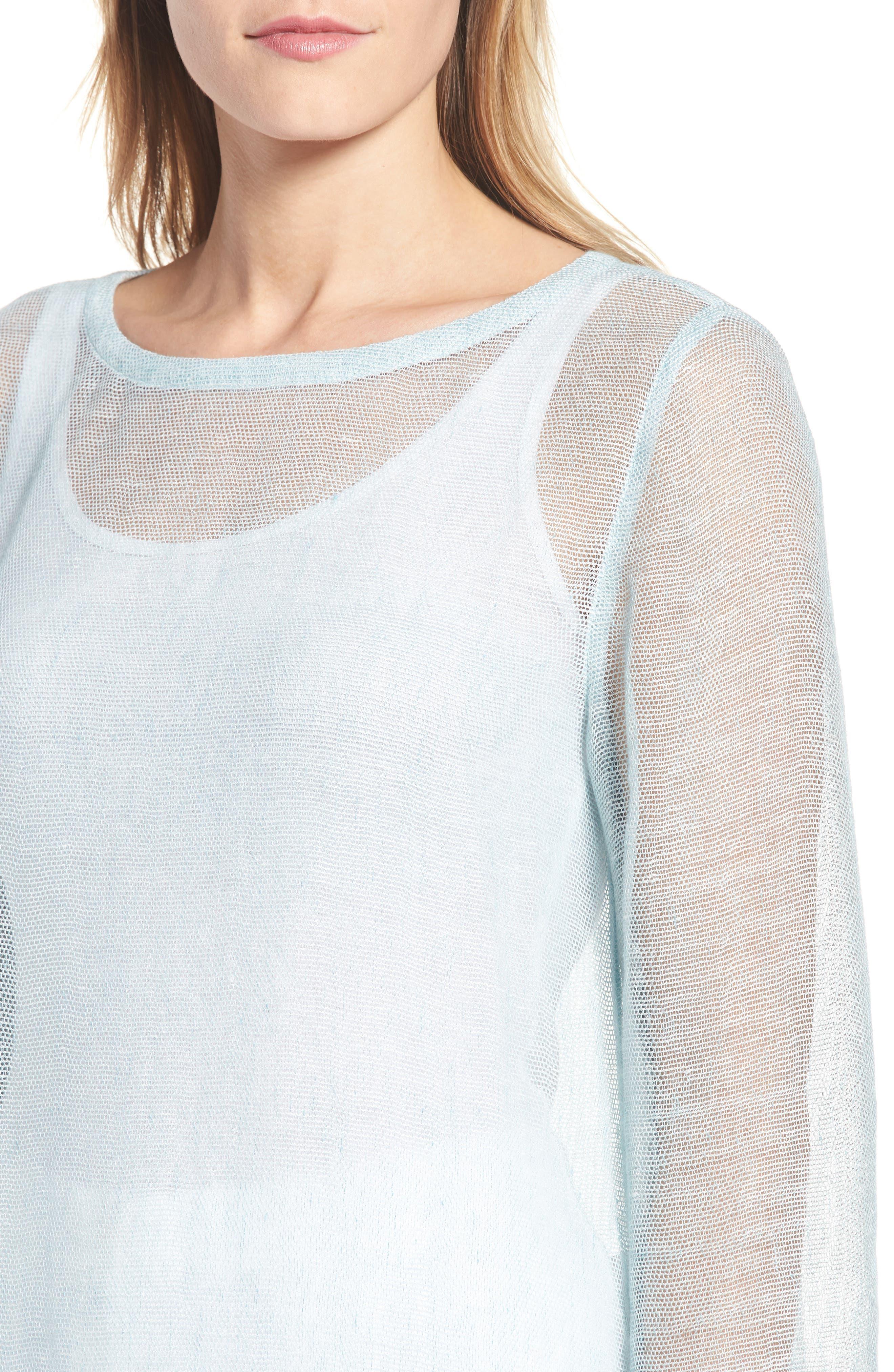 Organic Linen Blend Tunic,                             Alternate thumbnail 4, color,                             Pool