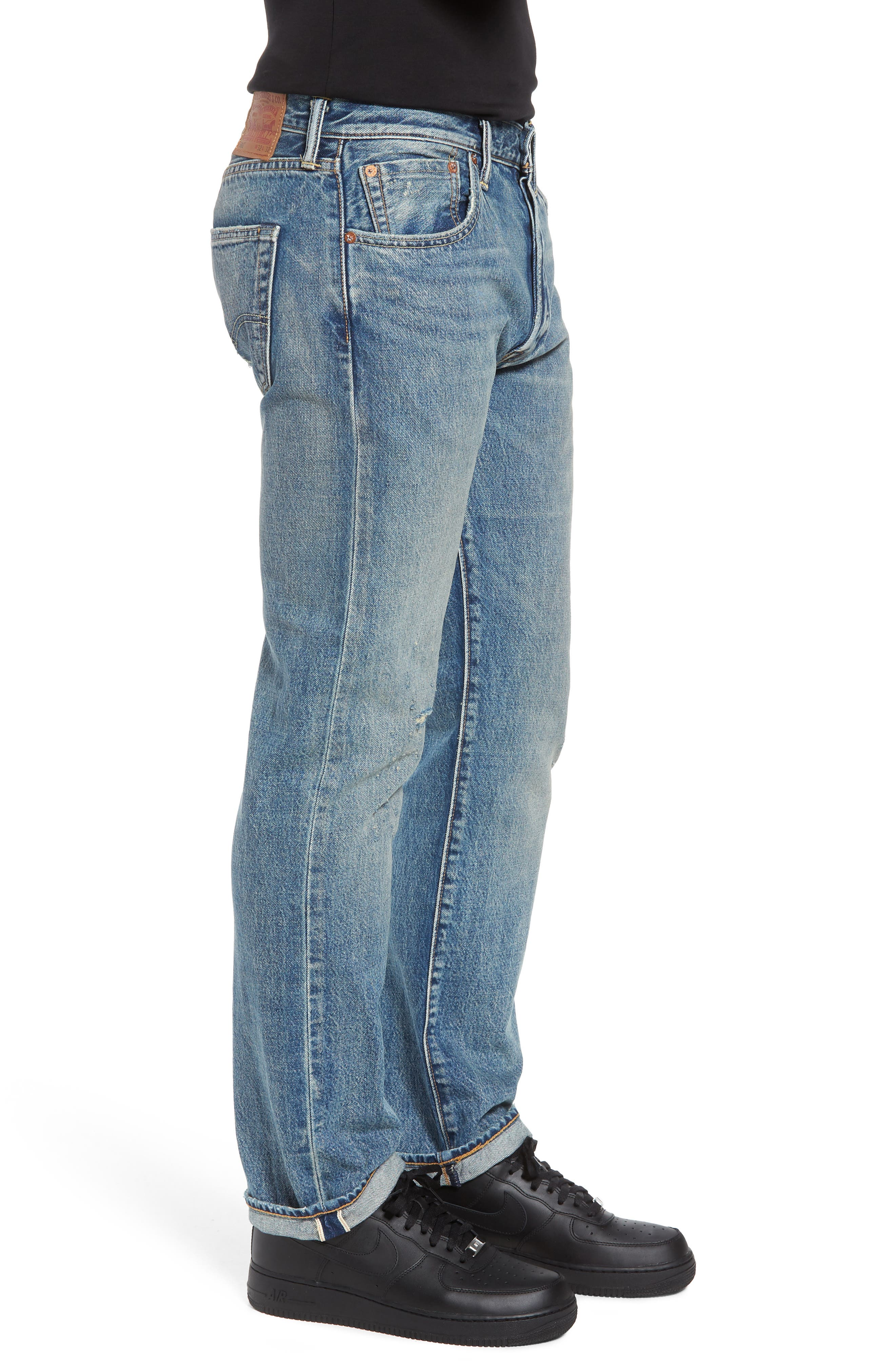501<sup>®</sup> Original Straight Leg Jeans,                             Alternate thumbnail 3, color,                             Redwood Ave Selvedge