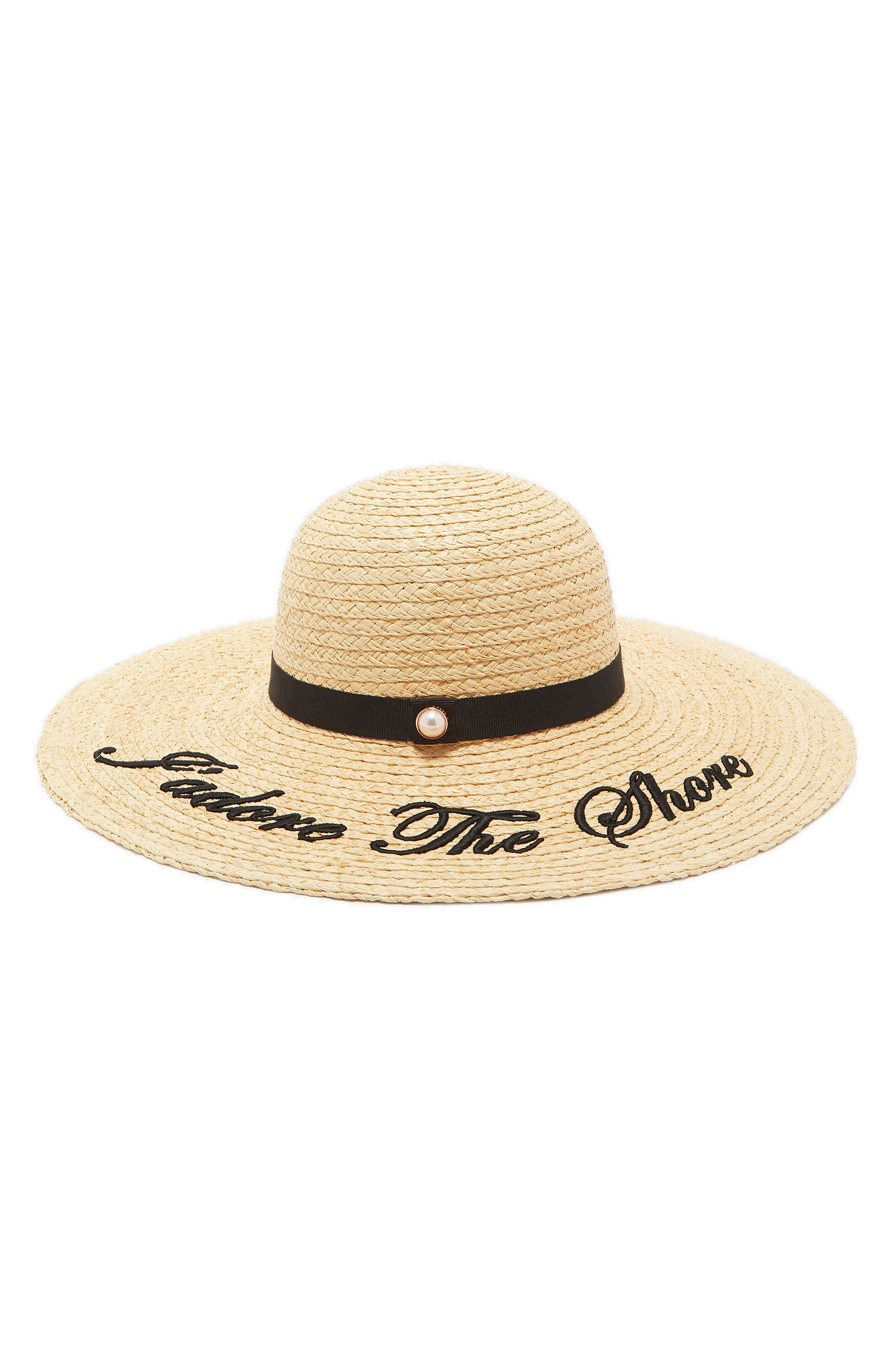 Script Embroidered Floppy Hat,                         Main,                         color, Straw