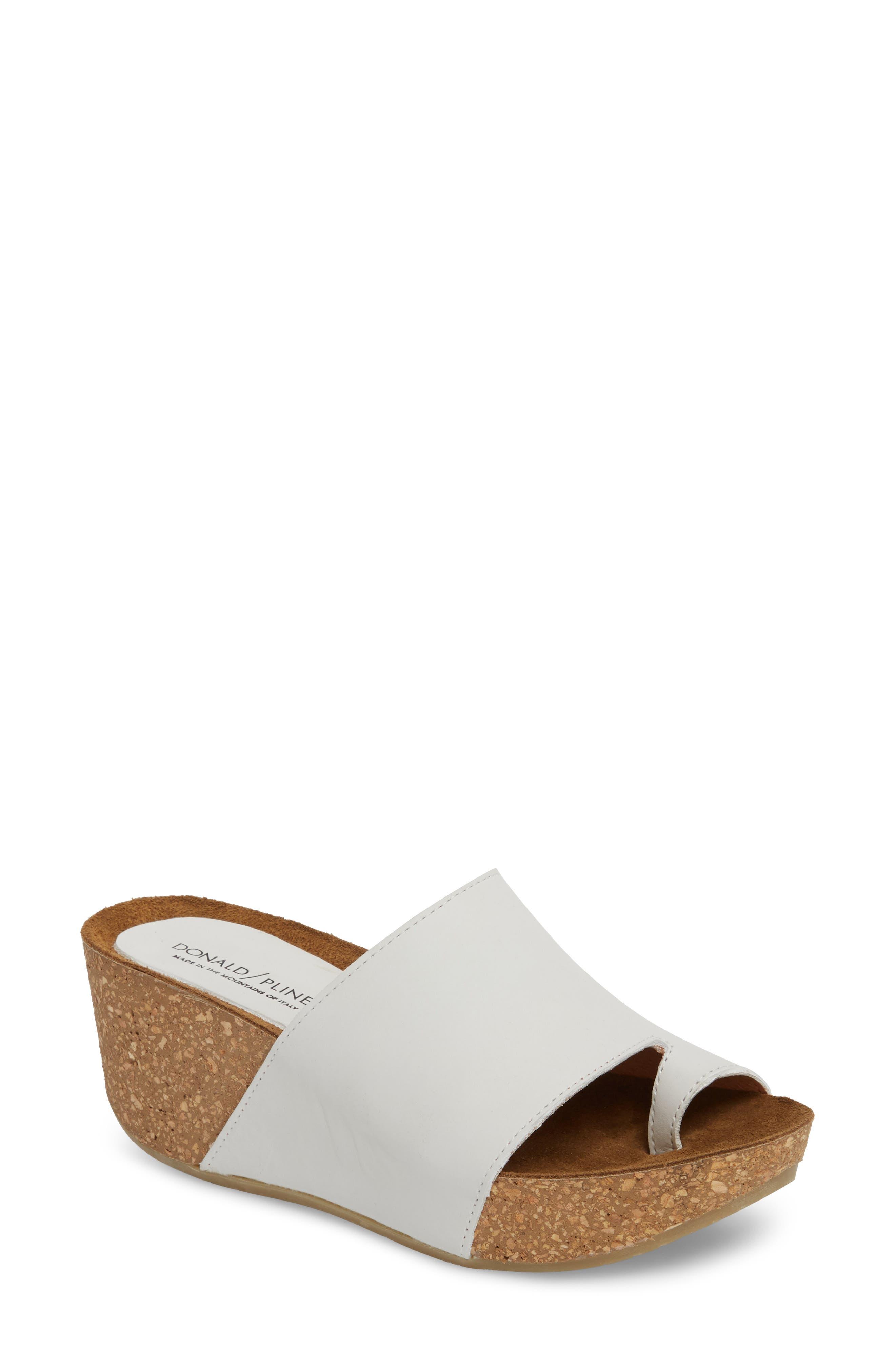 Donald J Pliner Ginie Platform Wedge Sandal,                             Main thumbnail 1, color,                             Bone Leather