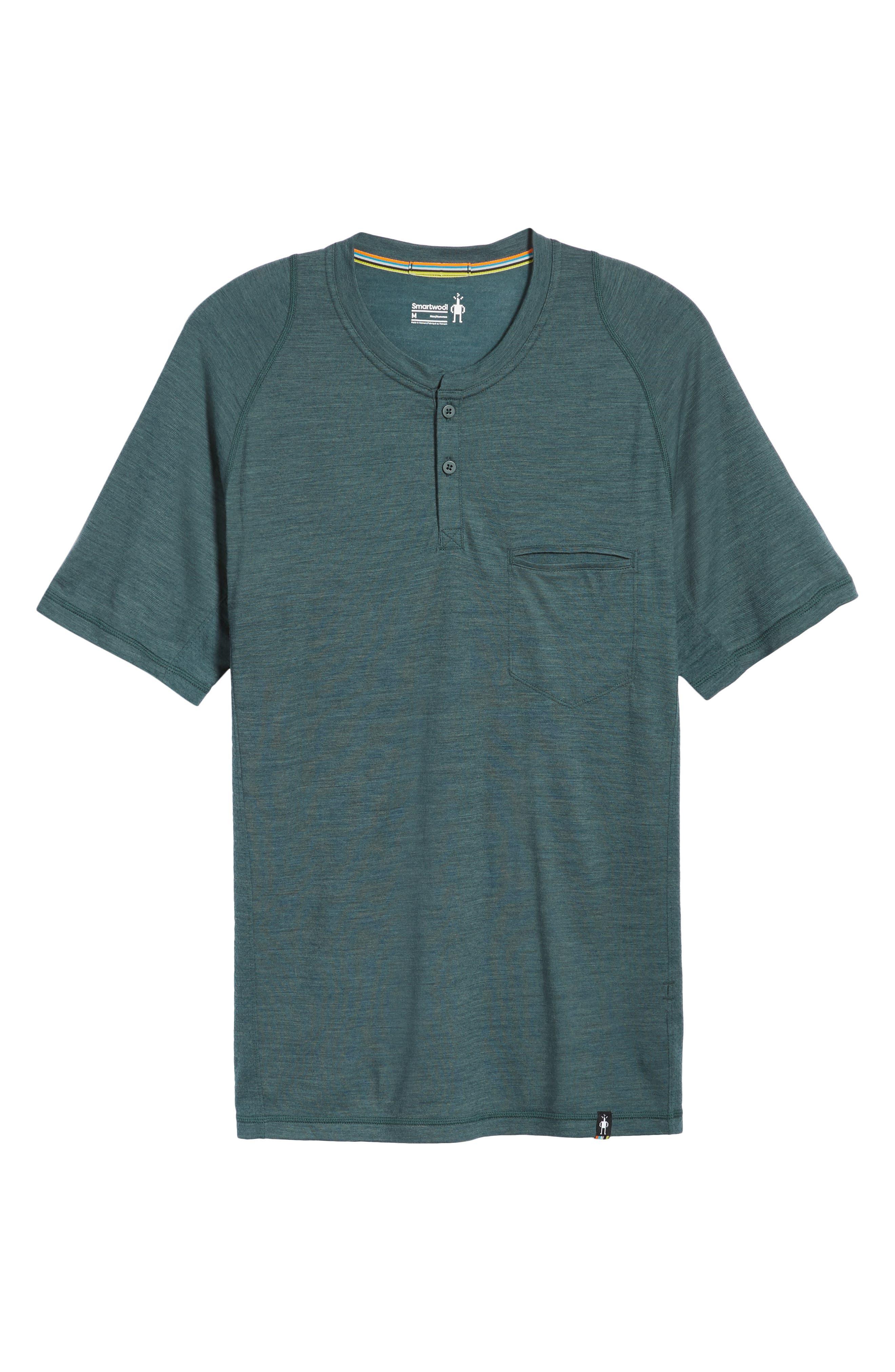 Everyday Exploration Short Sleeve Henley,                         Main,                         color, Midnight Green