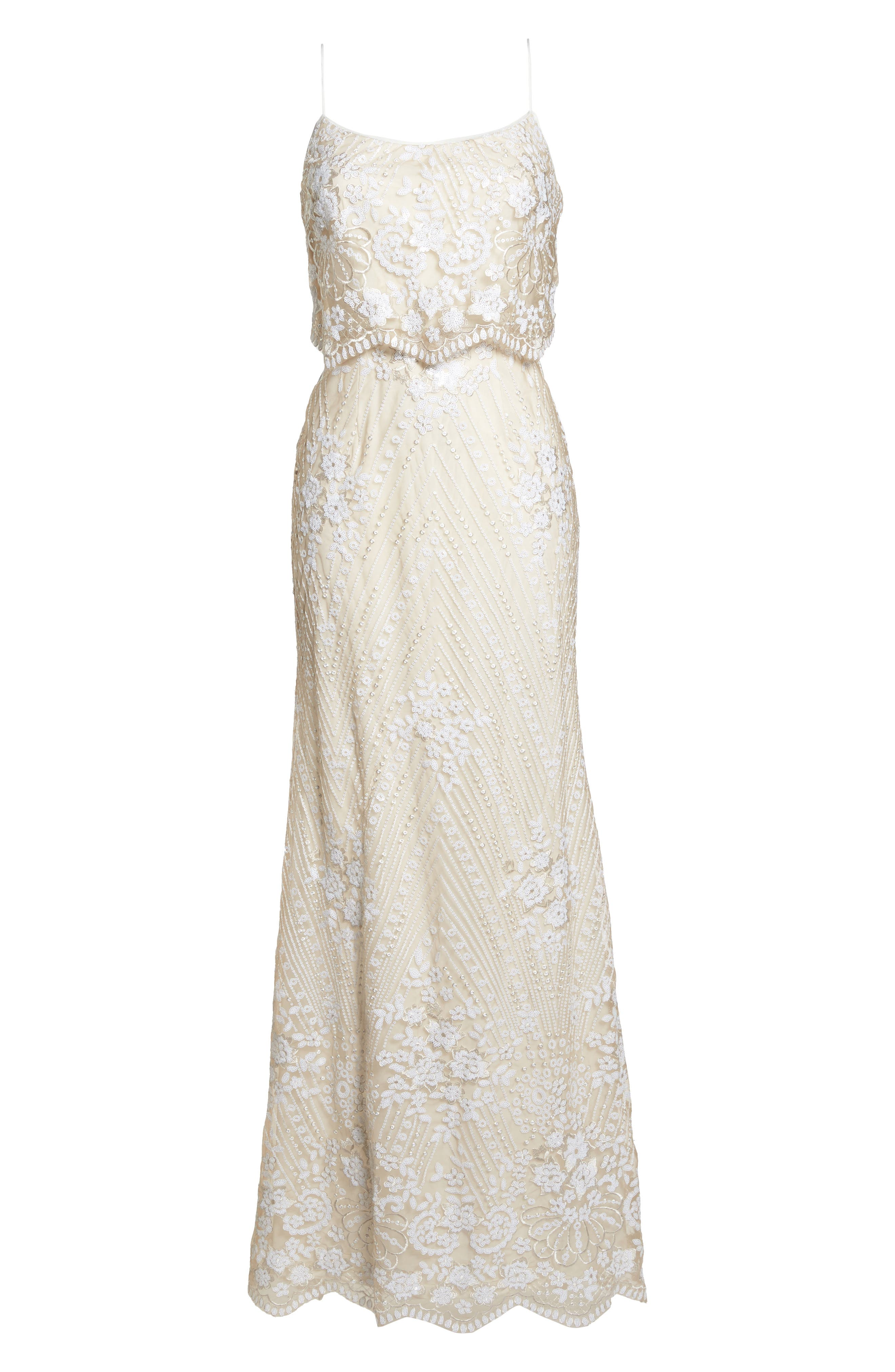 Sequin Popover Mermaid Gown,                             Alternate thumbnail 6, color,                             Pearl