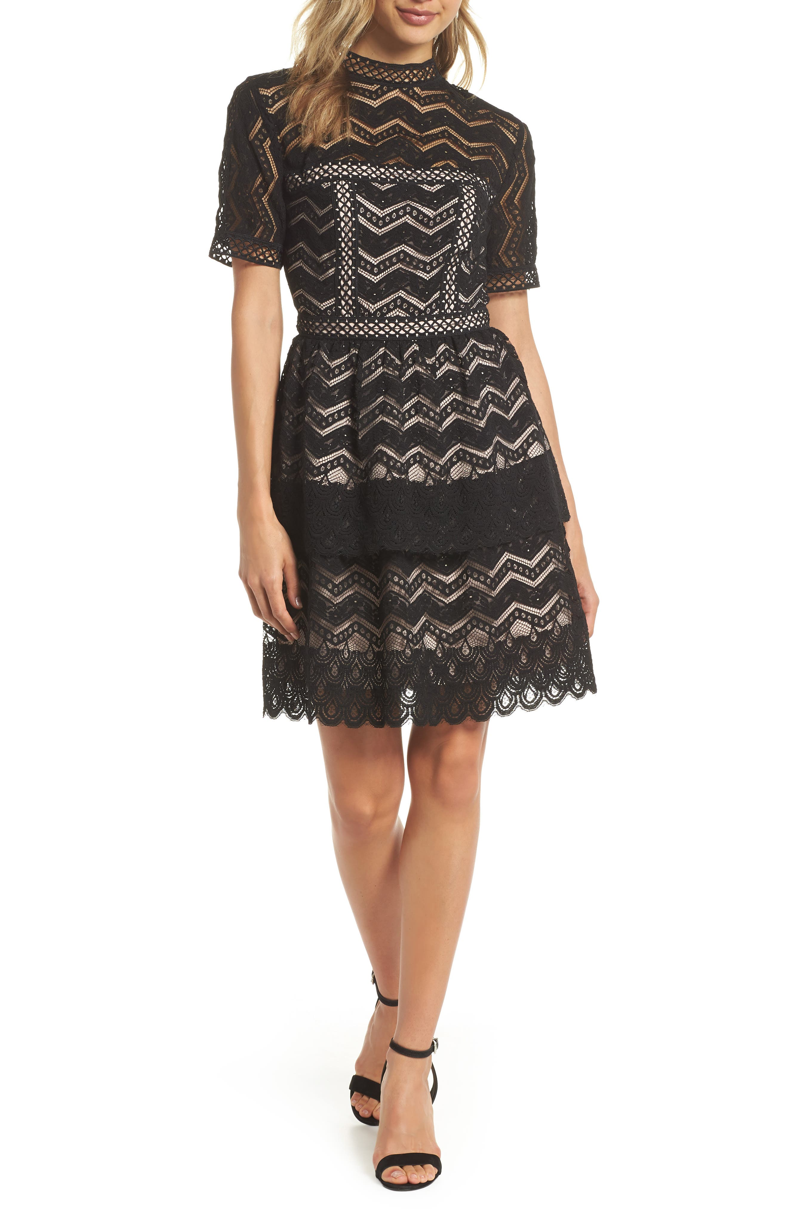 Tiered Lace Fit & Flare Dress,                         Main,                         color, Black