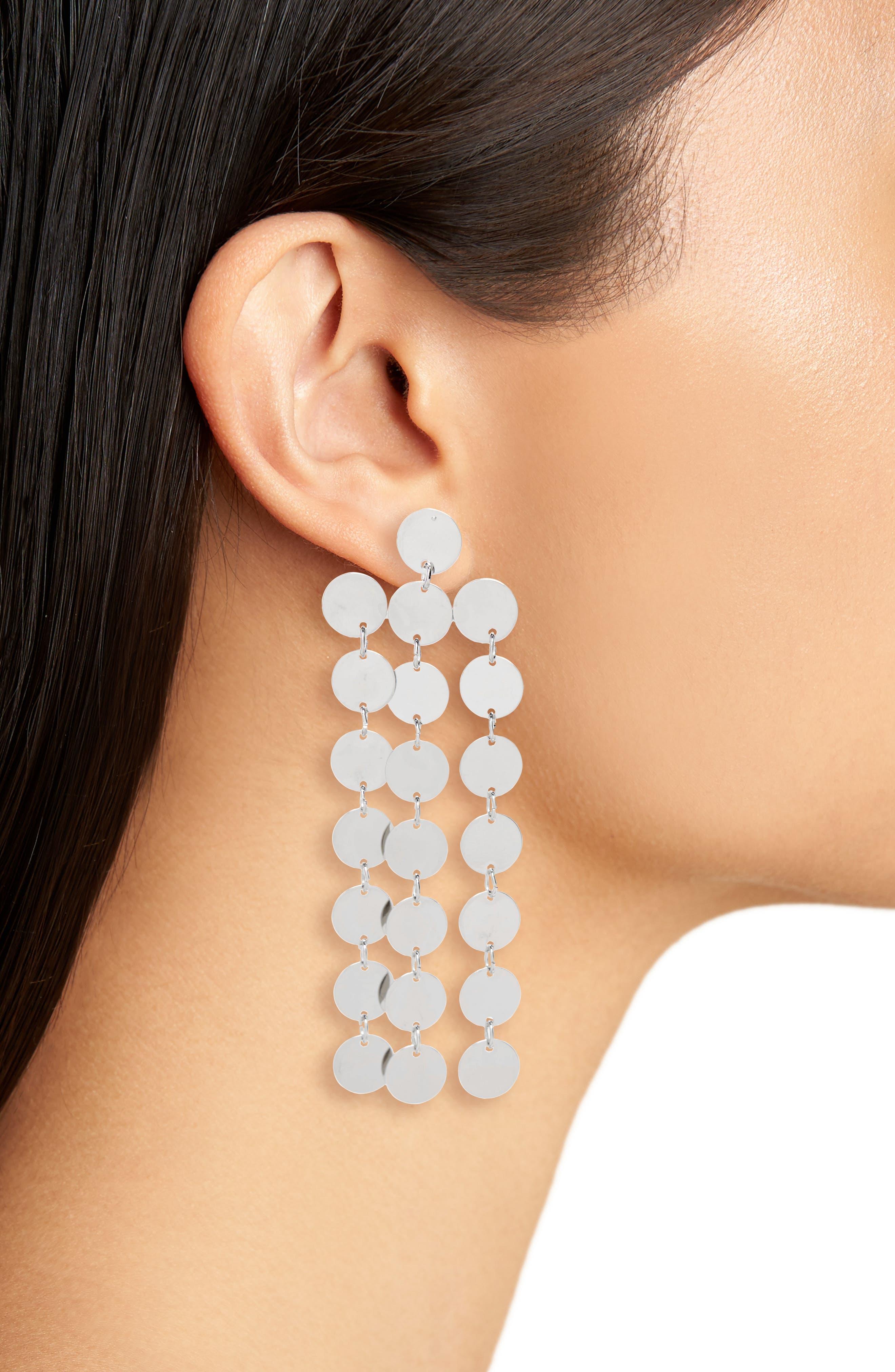 Circle Chain Fringe Earrings,                             Alternate thumbnail 2, color,                             Silver