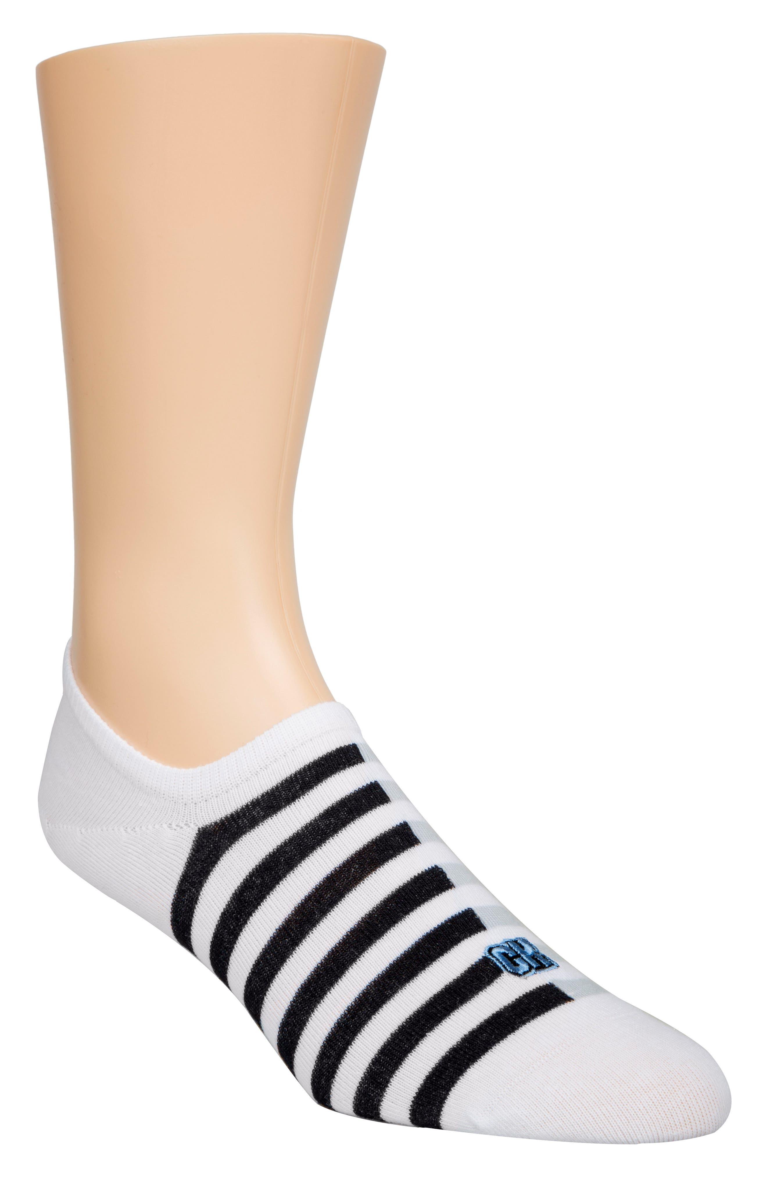 Stripe No-Show Socks,                             Main thumbnail 1, color,                             White