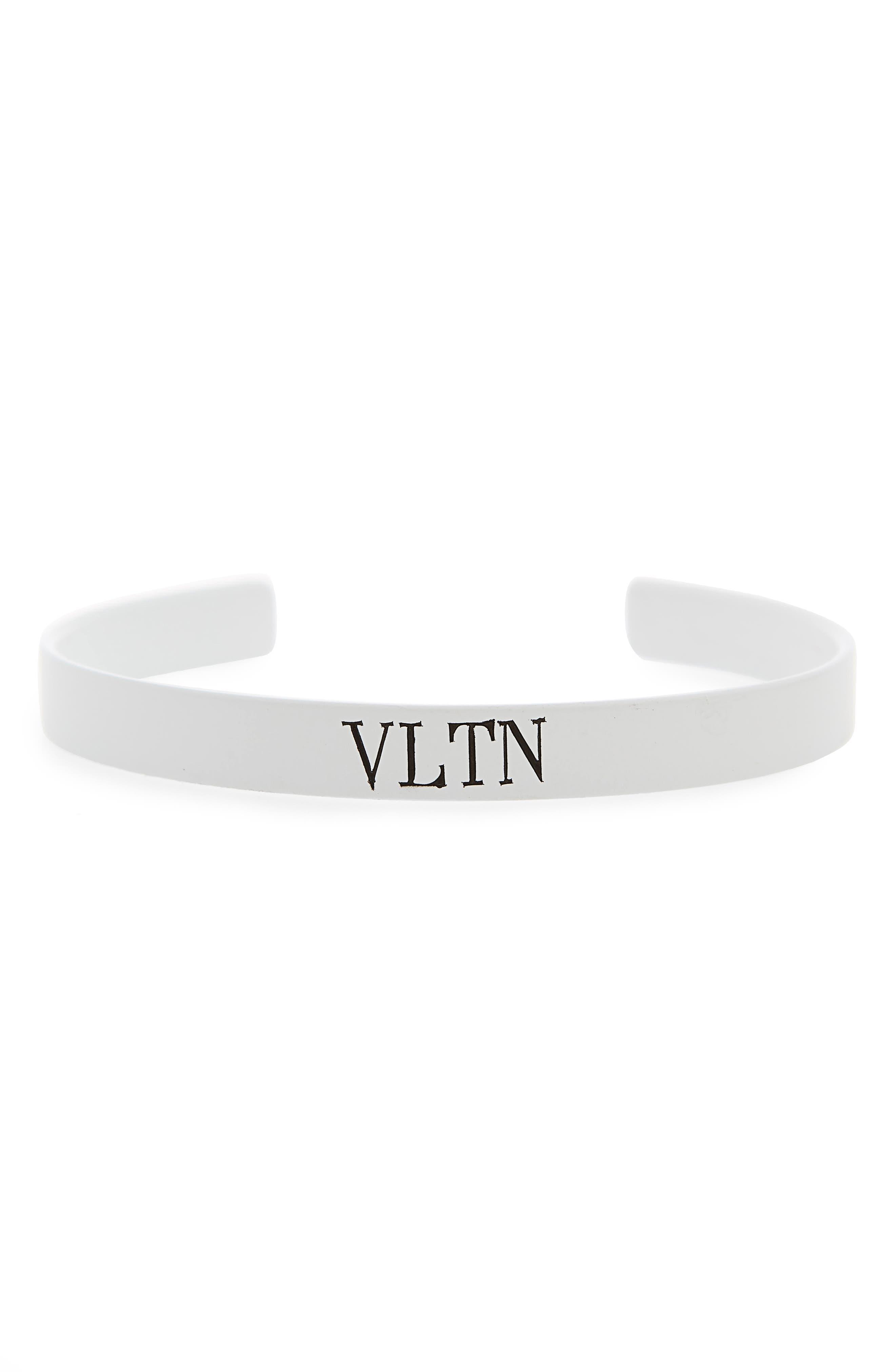 VLTN Small Cuff Bracelet,                         Main,                         color, Bianco/ Nero