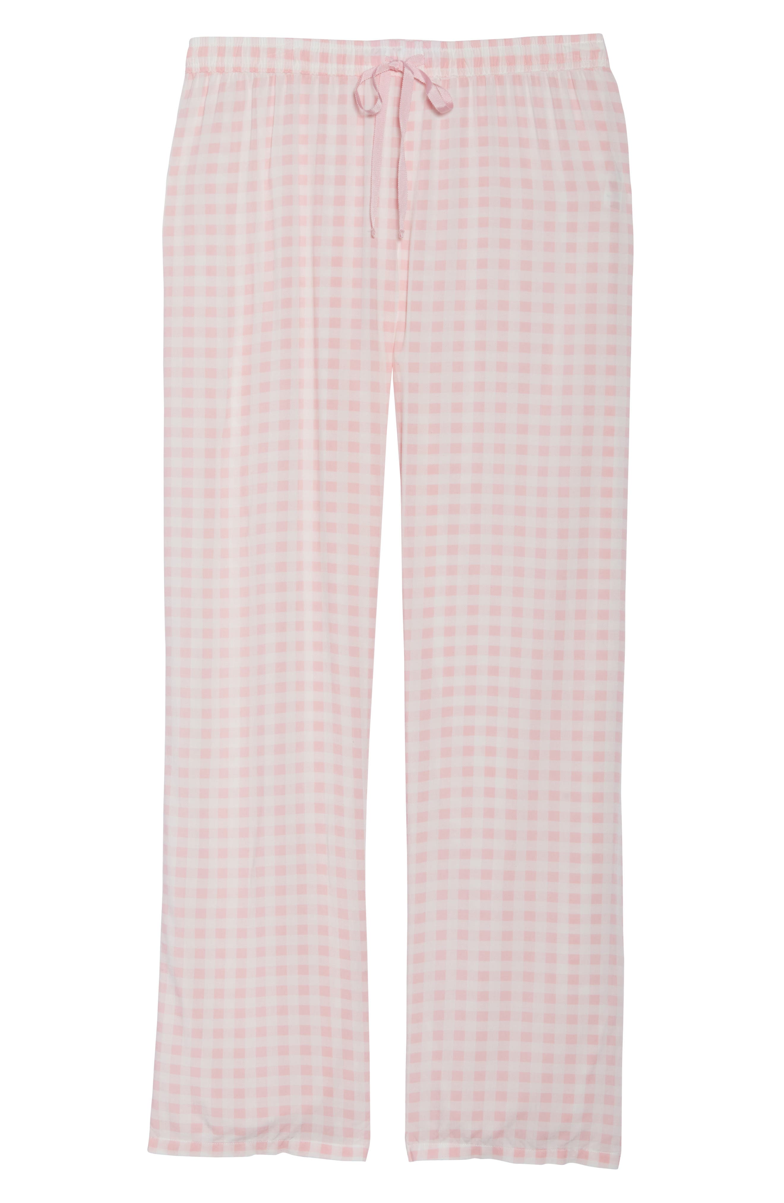 Gingham Pajama Pants,                             Alternate thumbnail 4, color,                             Pink