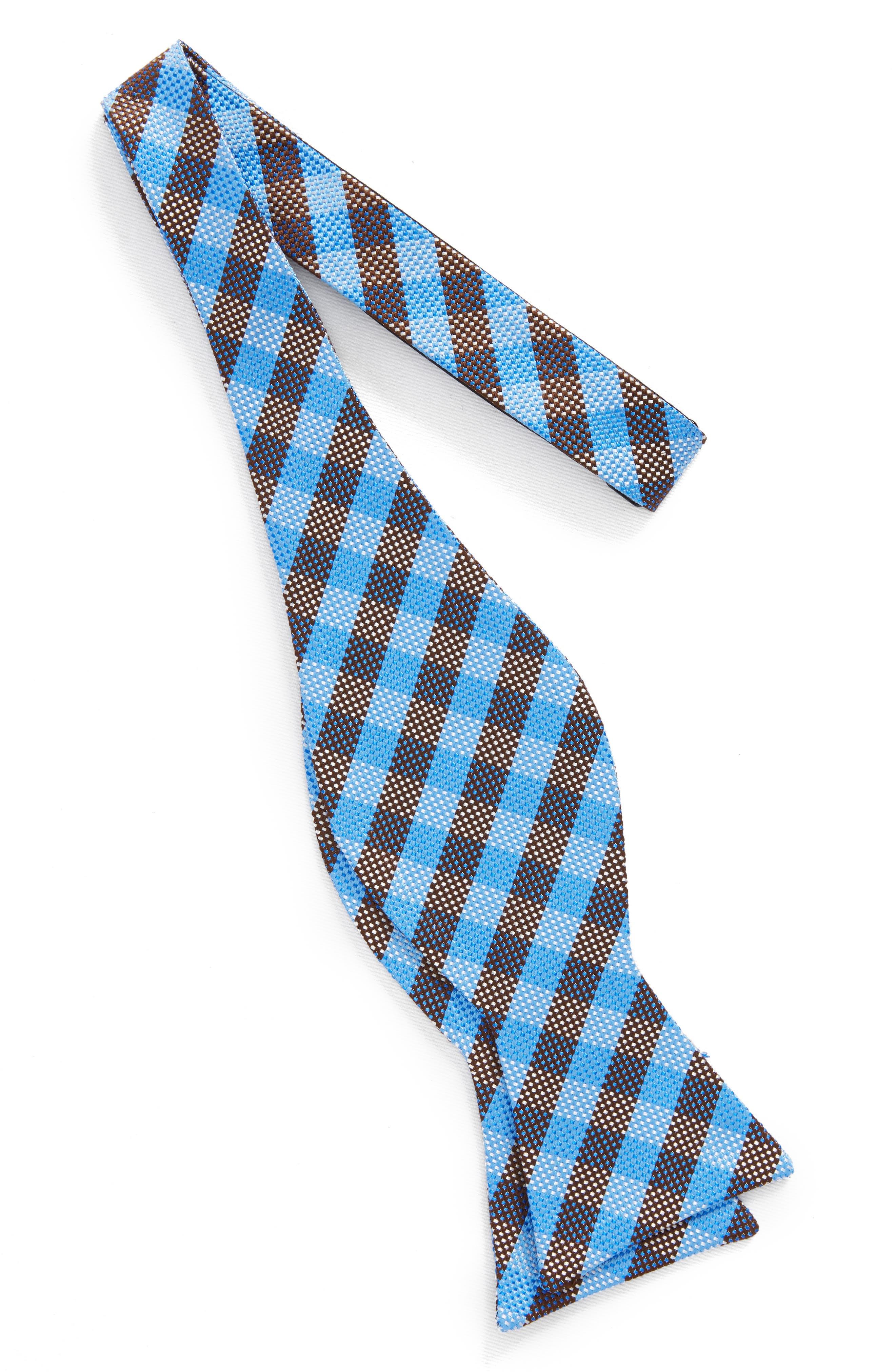 Check Silk Bow Tie,                             Alternate thumbnail 2, color,                             Blue