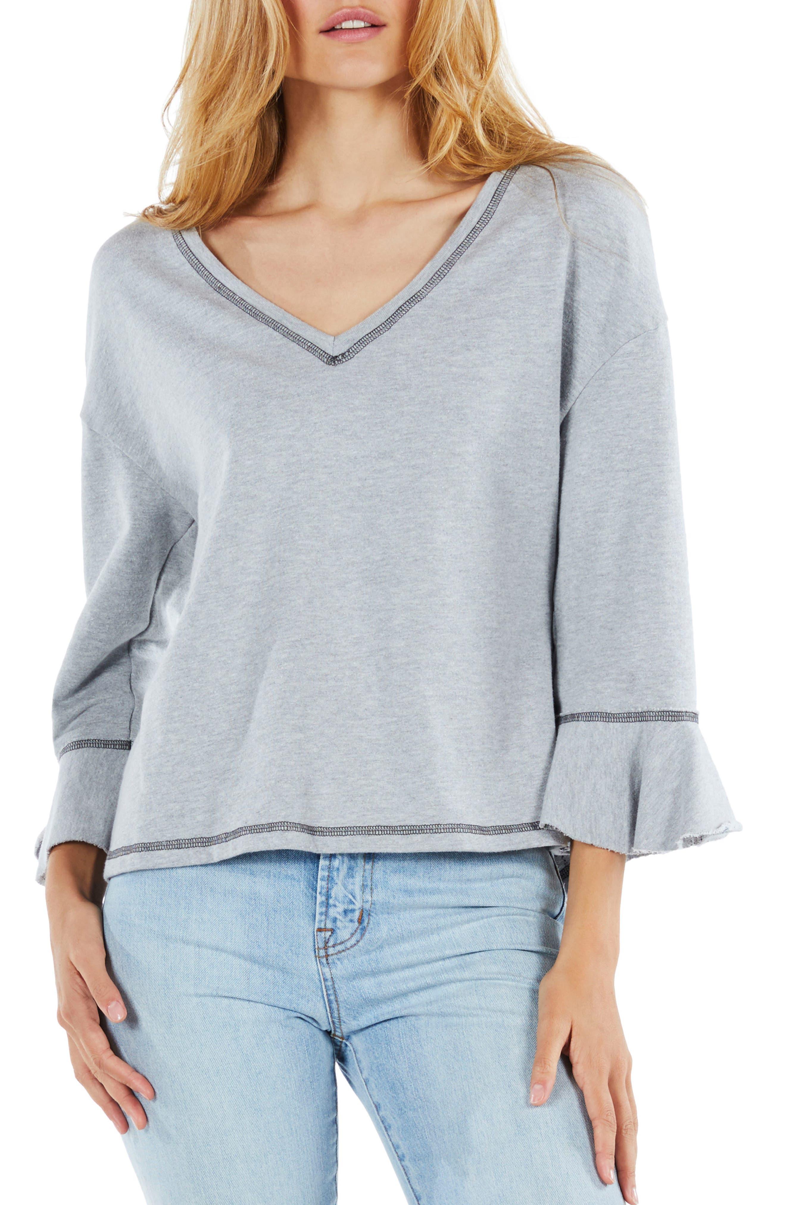 Ruffle Sleeve Reversible Sweatshirt,                         Main,                         color, Heather Grey