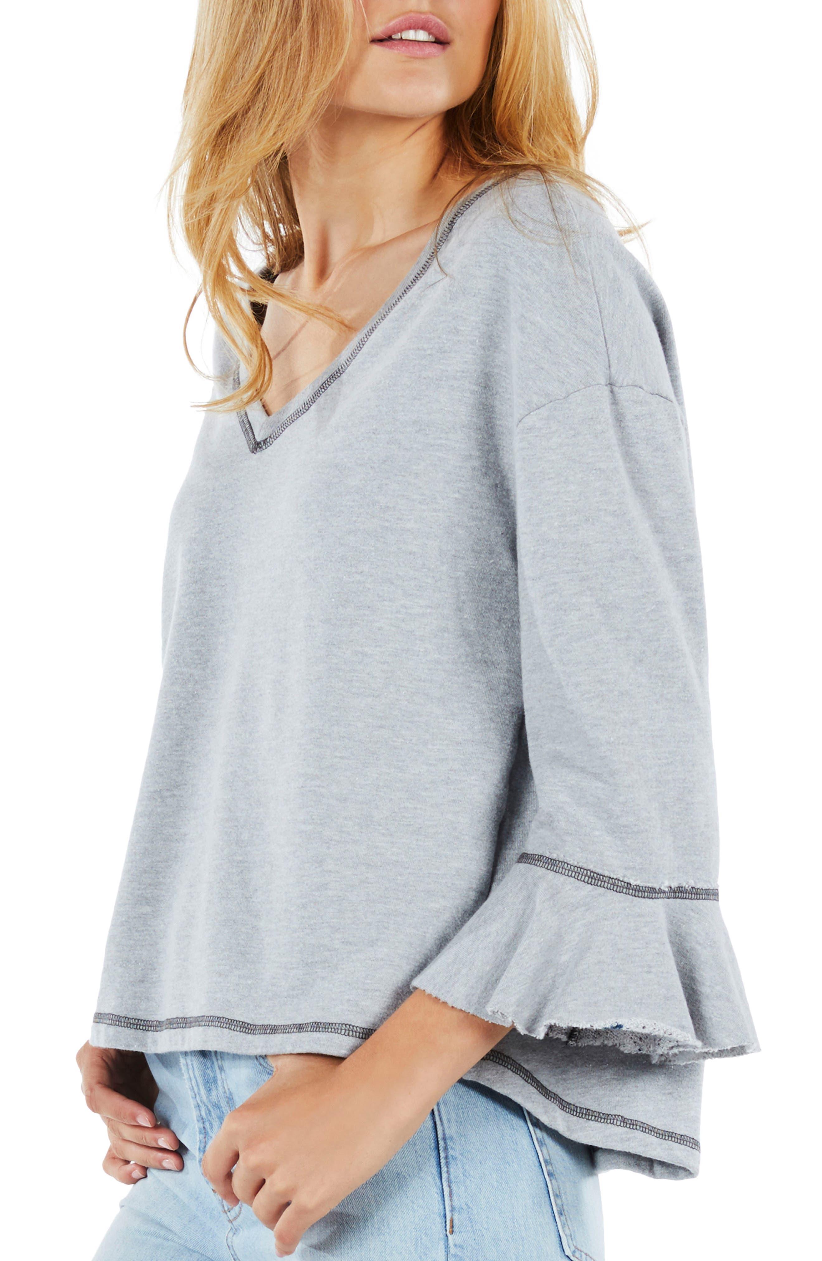 Ruffle Sleeve Reversible Sweatshirt,                             Alternate thumbnail 4, color,                             Heather Grey