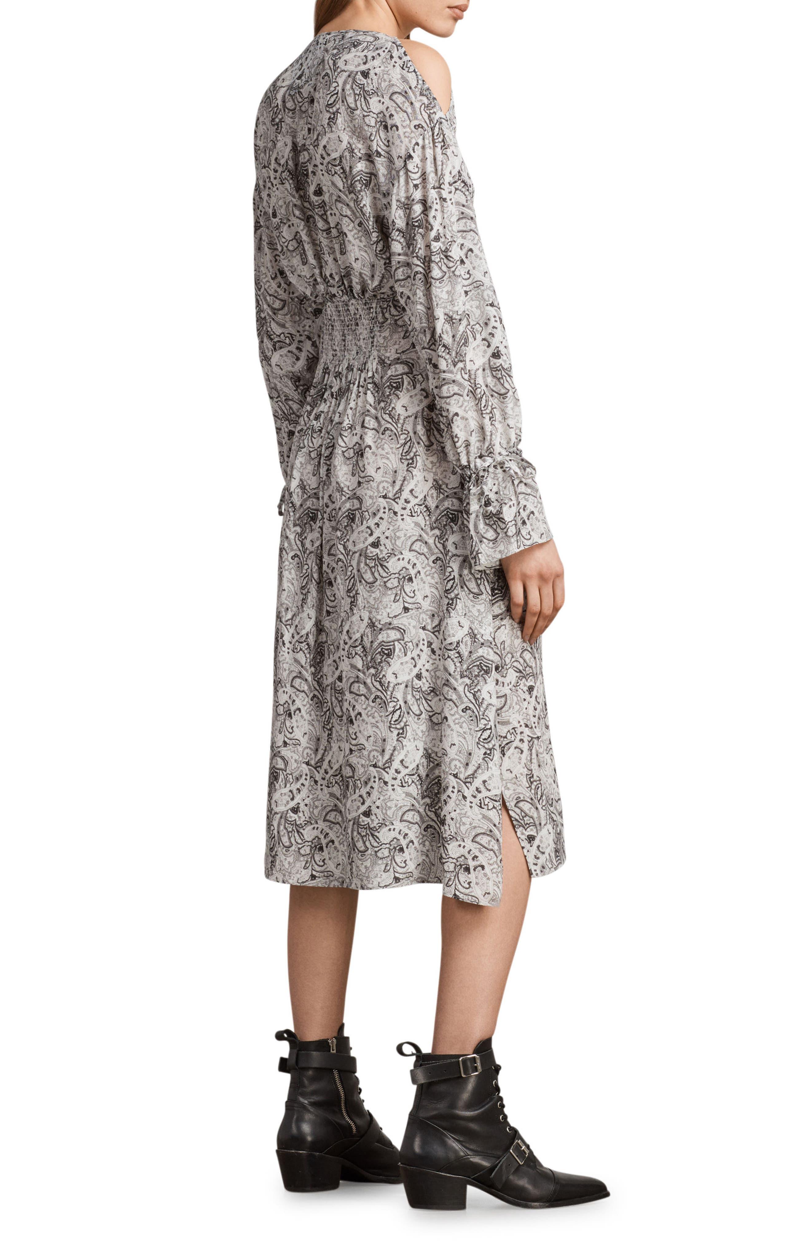 Lavete Paisley Cold Shoulder Midi Dress,                             Alternate thumbnail 2, color,                             White