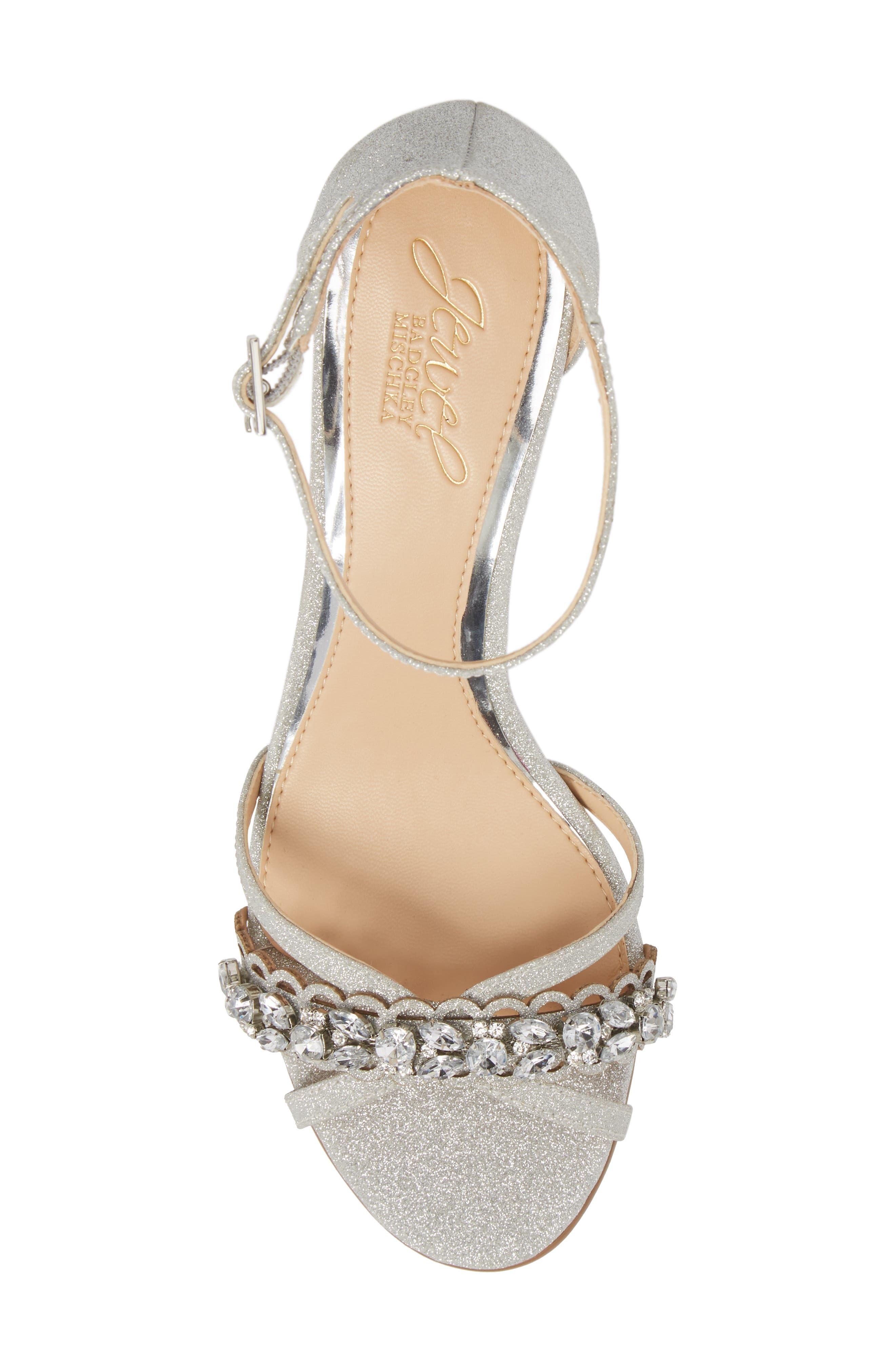 Giona Sandal,                             Alternate thumbnail 5, color,                             Silver Glitter Fabric