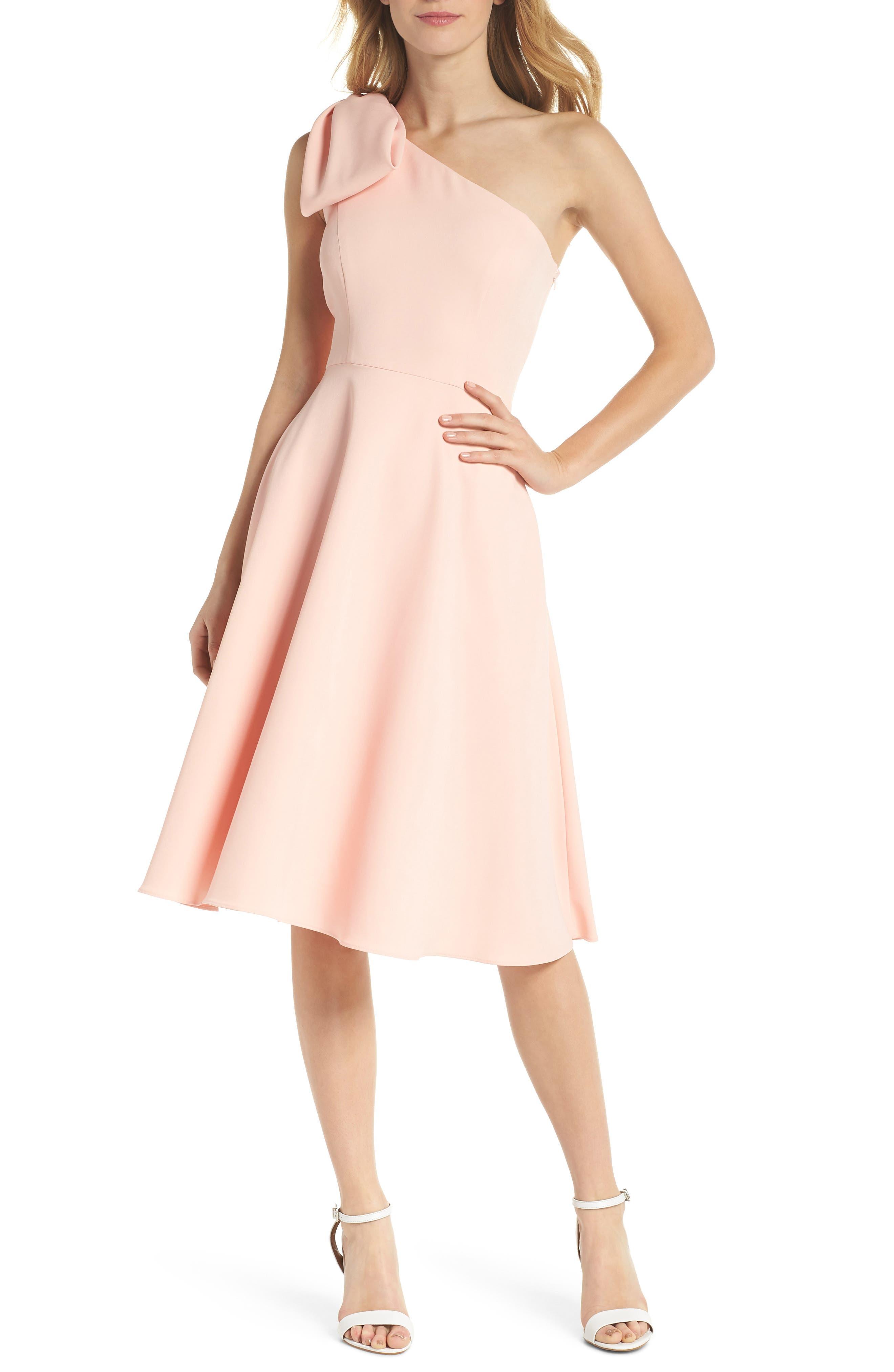 Yvonne Dream Crepe One-Shoulder Dress,                         Main,                         color, Rose Quartz