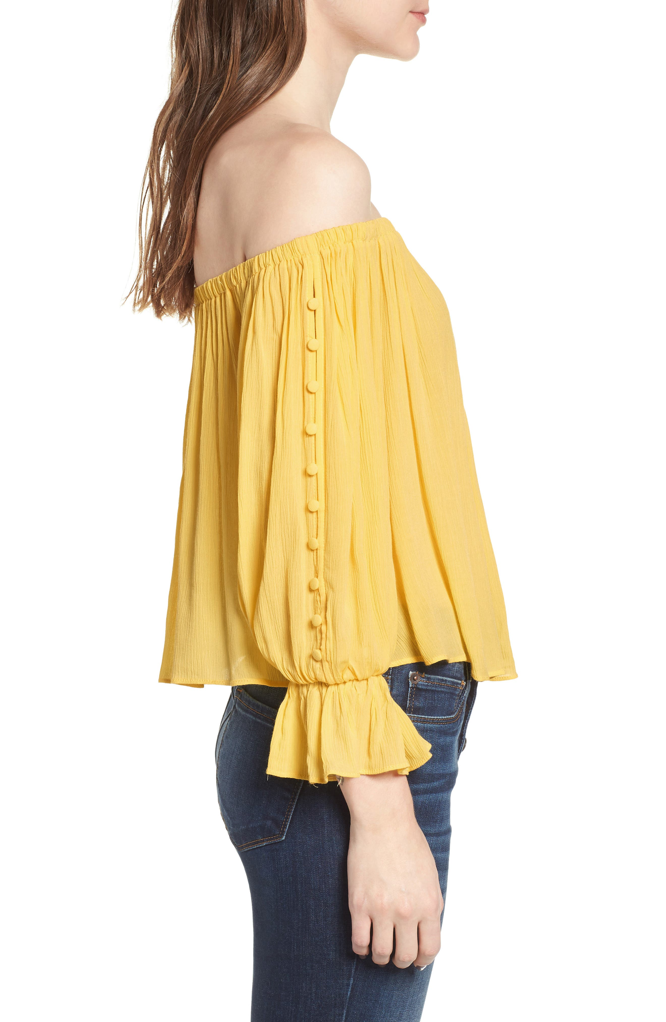 Button Sleeve Off the Shoulder Top,                             Alternate thumbnail 3, color,                             Yellow