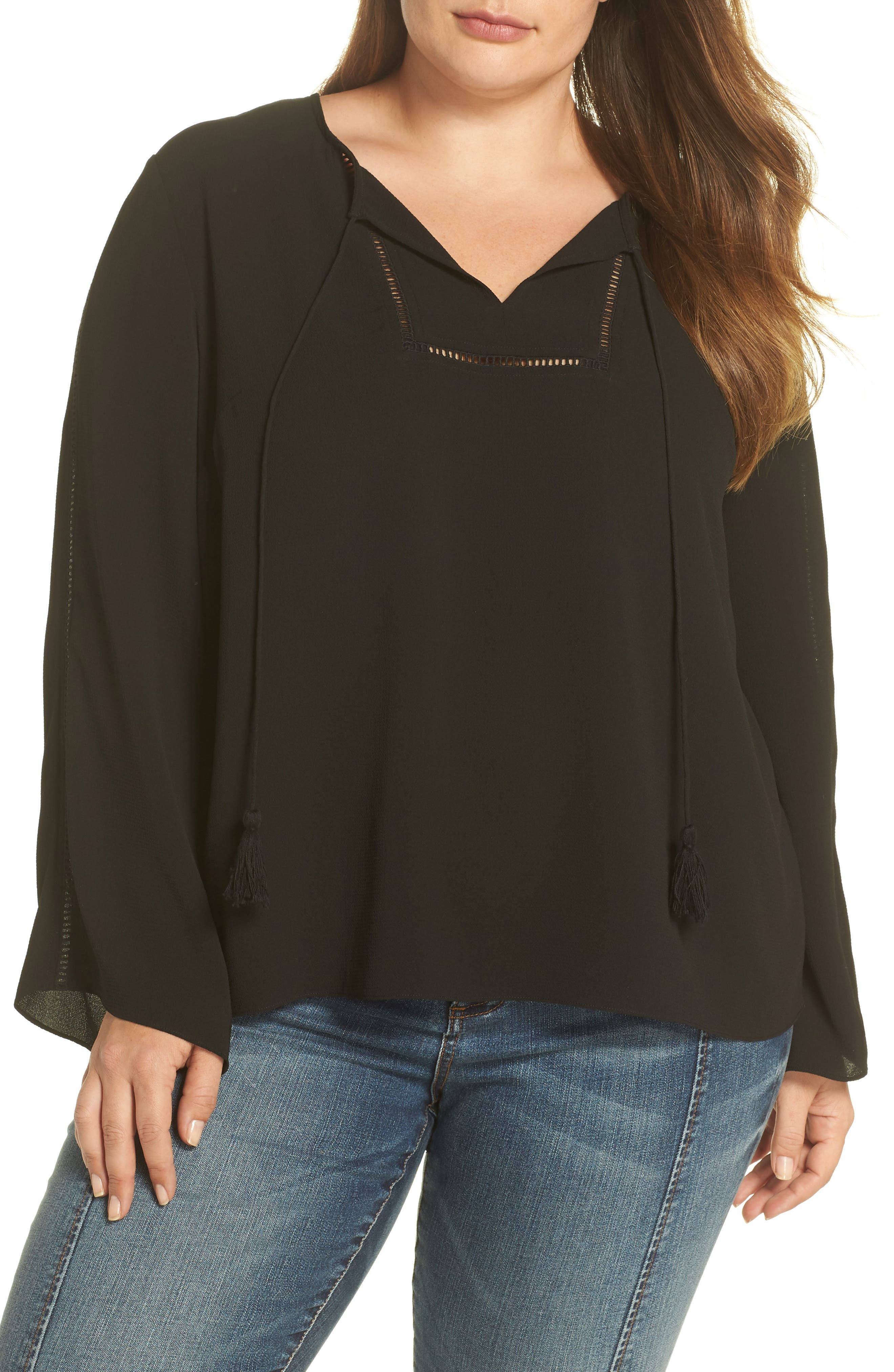 Bell Sleeve Ladder Stitch Top,                             Main thumbnail 1, color,                             Rich Black