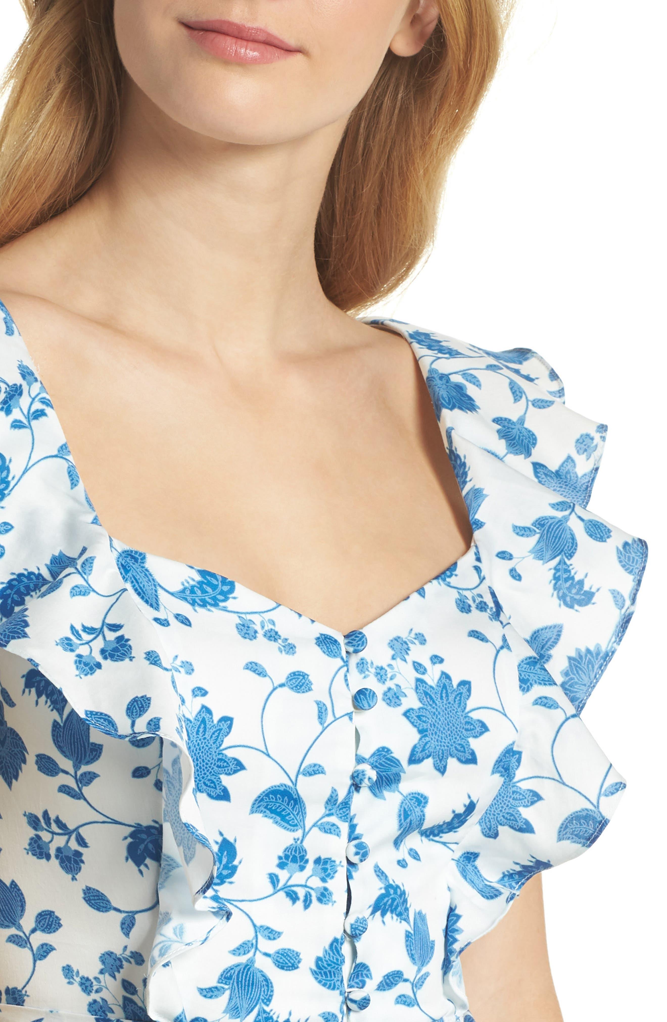 Olivia Floral Wallpaper Print Fit & Flare Dress,                             Alternate thumbnail 6, color,                             Cloud/ Blue