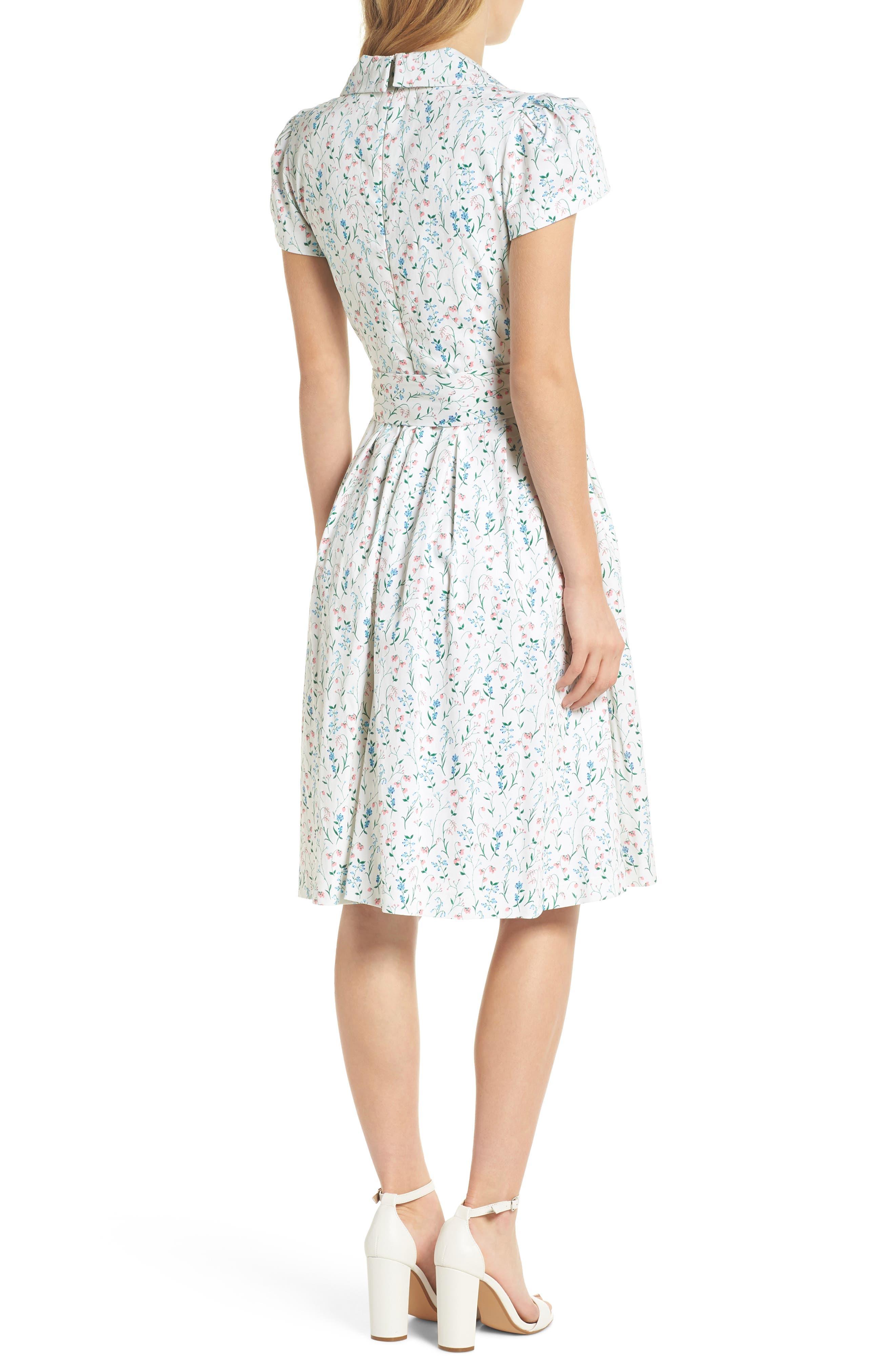 Anne Spring Sprig Print Wrap Style Dress,                             Alternate thumbnail 3, color,                             Pink