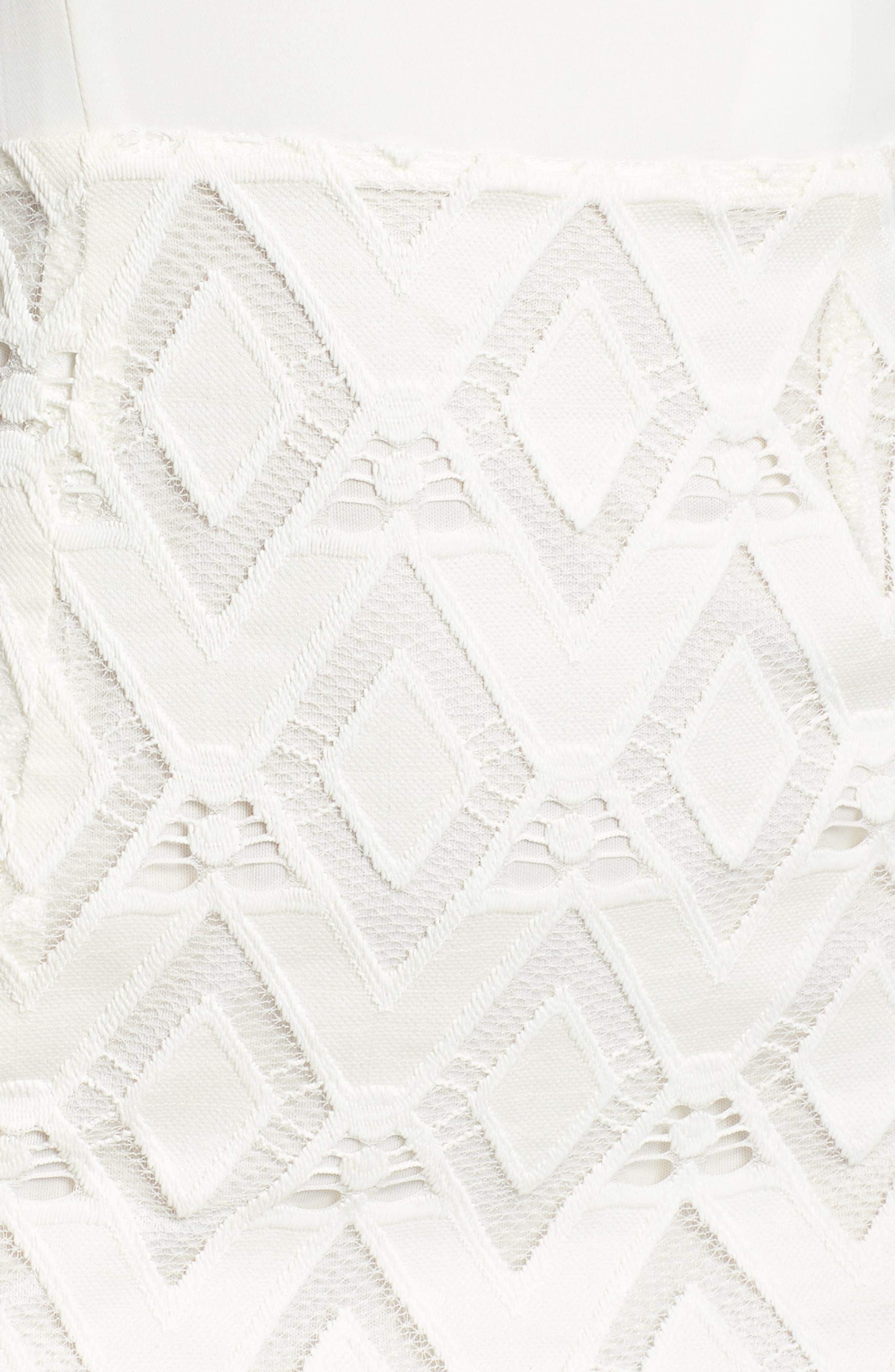 One-Shoulder Lace Sheath Dress,                             Alternate thumbnail 6, color,                             White