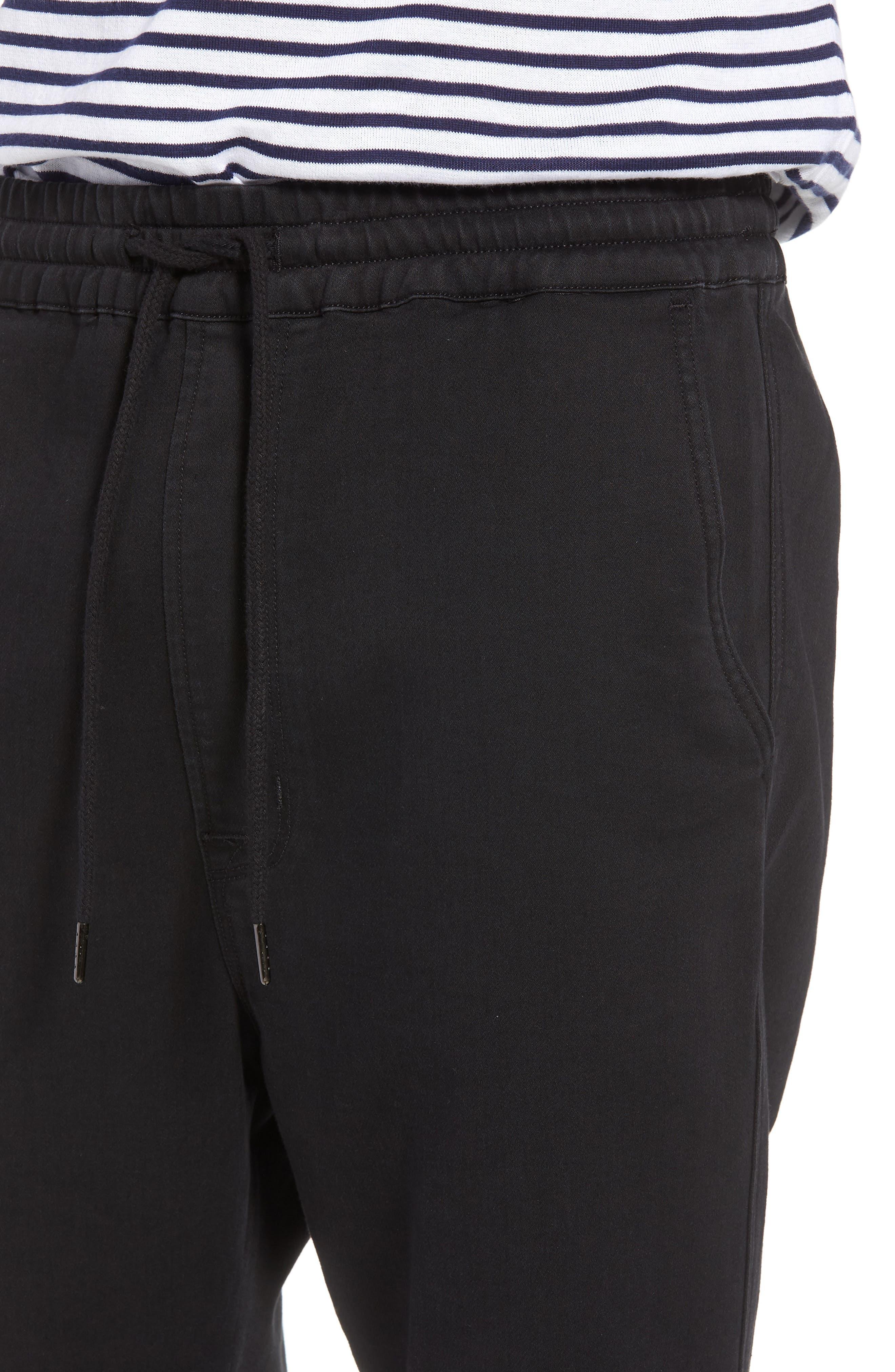 Hudson Leo Drop Crotch Pants,                             Alternate thumbnail 4, color,                             Black