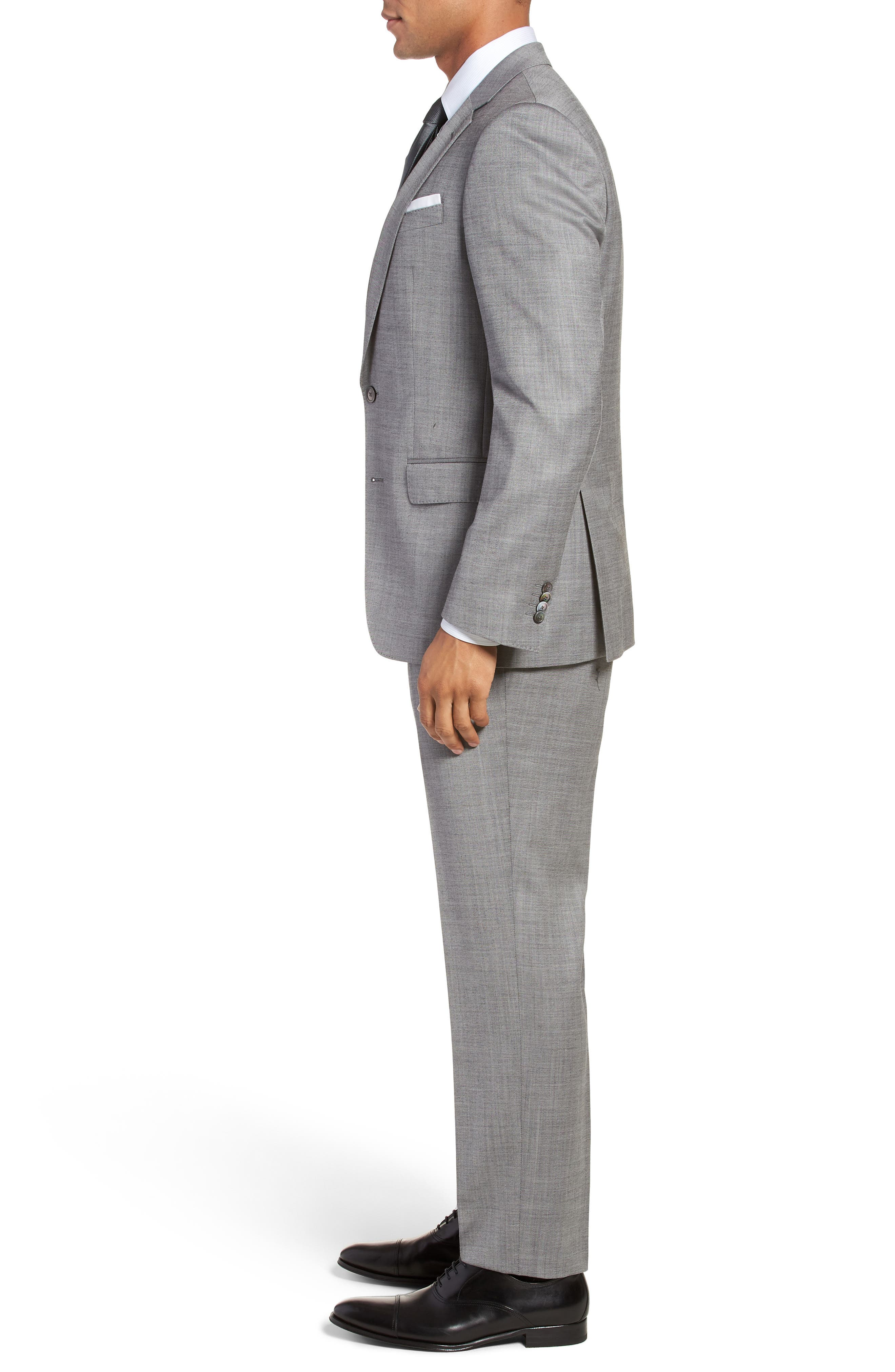 Hutsons/Gander Trim Fit Solid Wool & Silk Suit,                             Alternate thumbnail 3, color,                             Light Grey