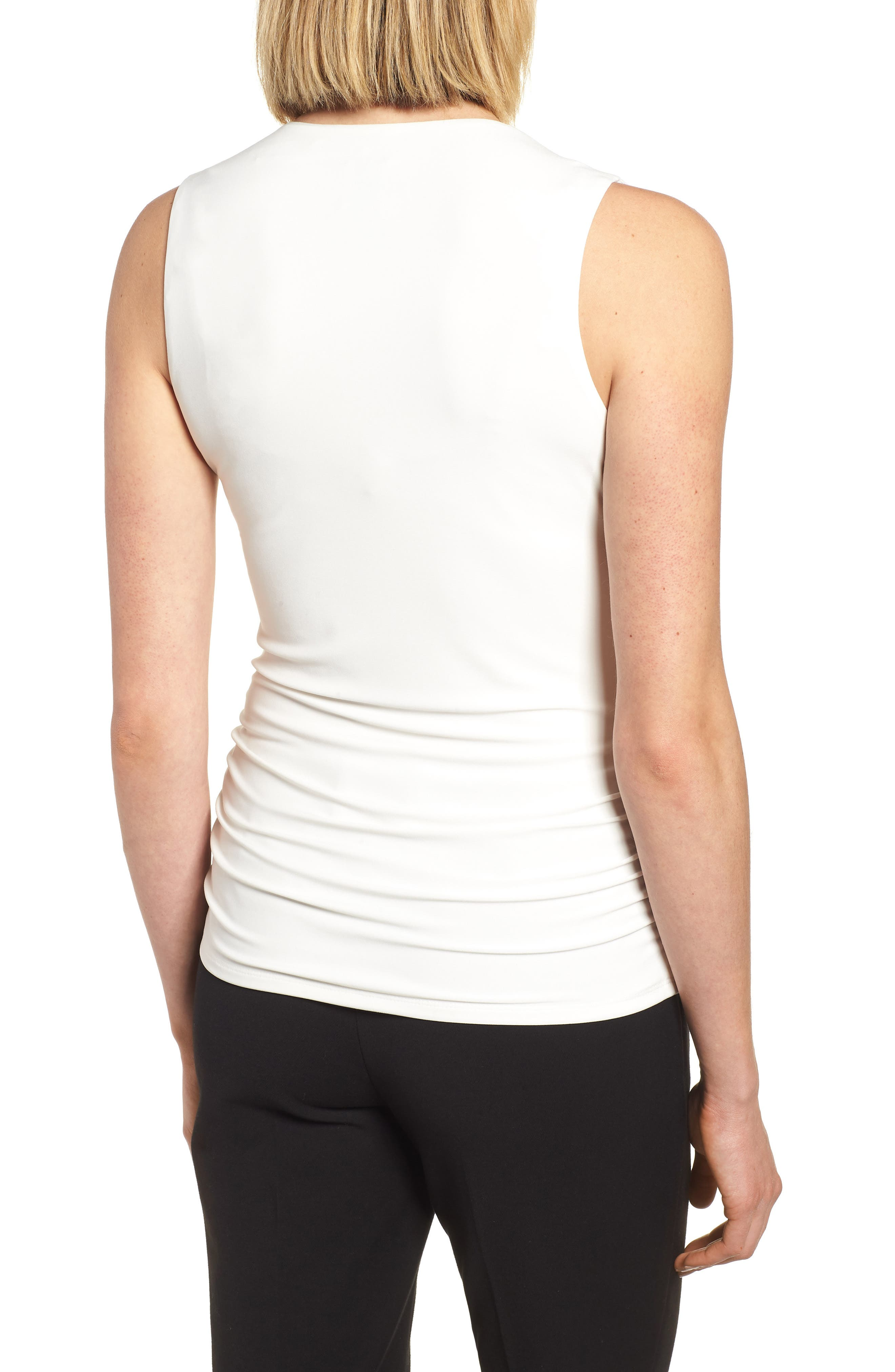 Side Ruched Top,                             Alternate thumbnail 2, color,                             White