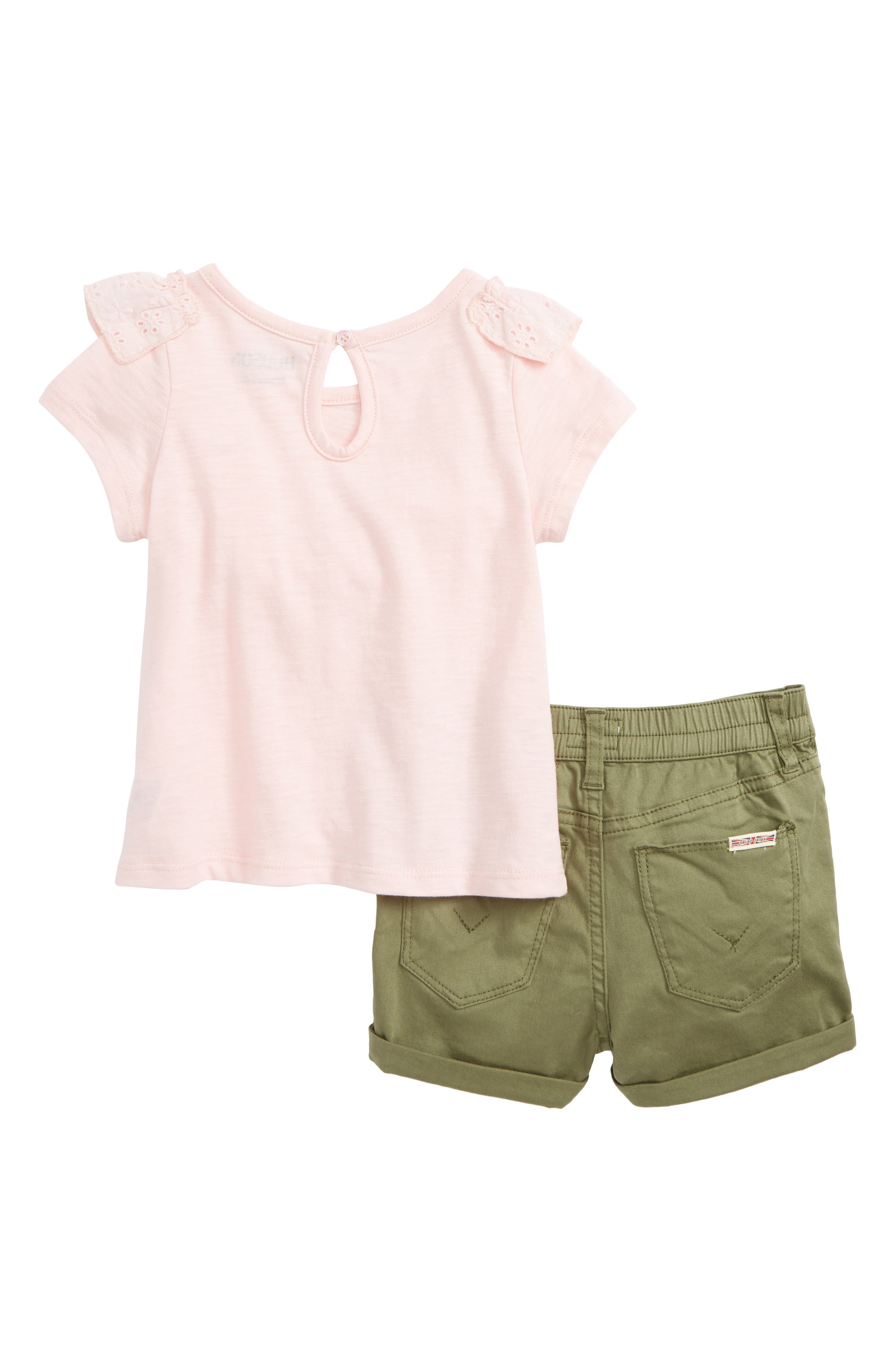 Eyelet Tee & Twill Shorts Set,                             Alternate thumbnail 2, color,                             Rose Blush