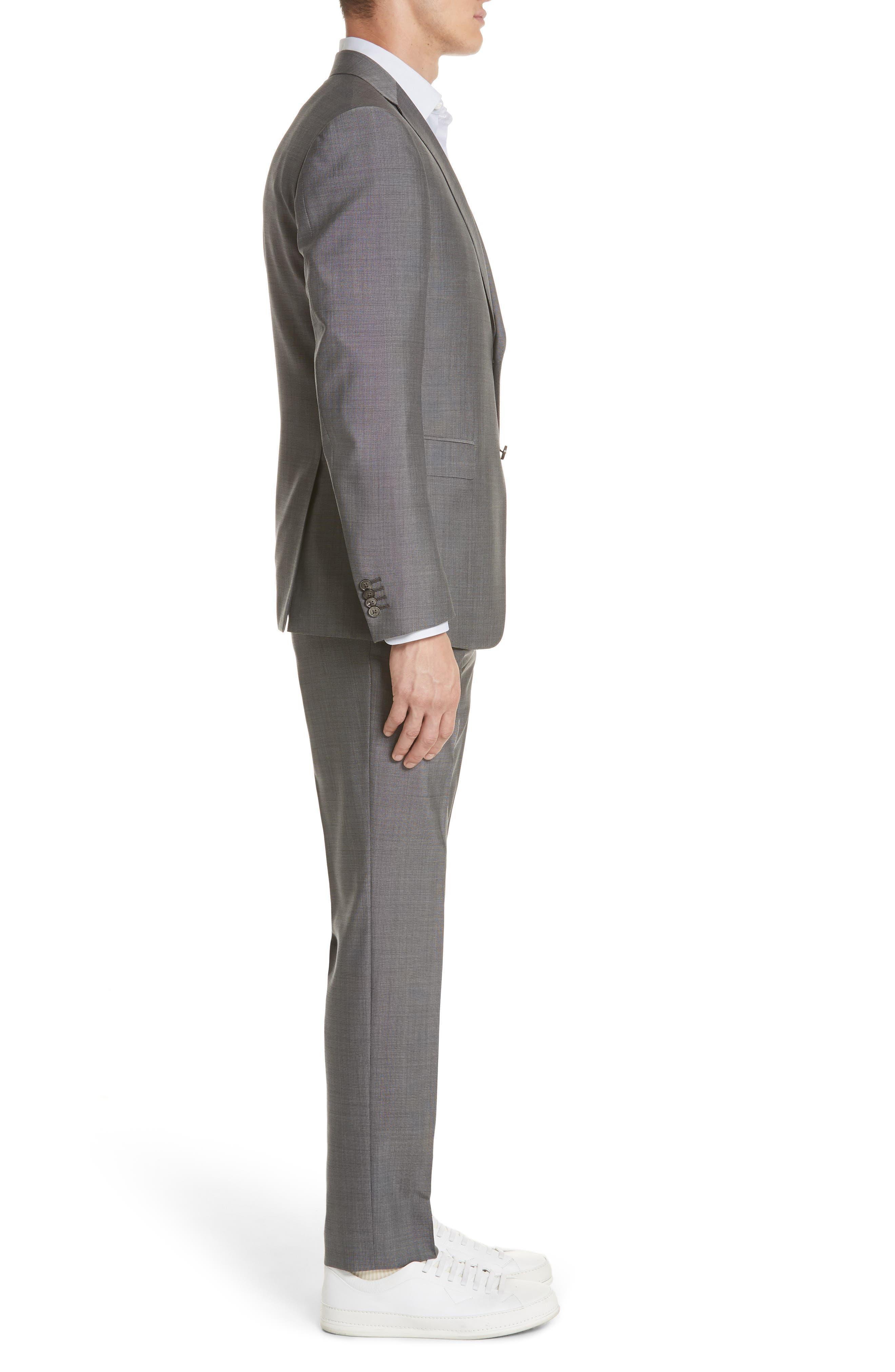 Trim Fit Solid Wool & Silk Suit,                             Alternate thumbnail 3, color,                             Grey
