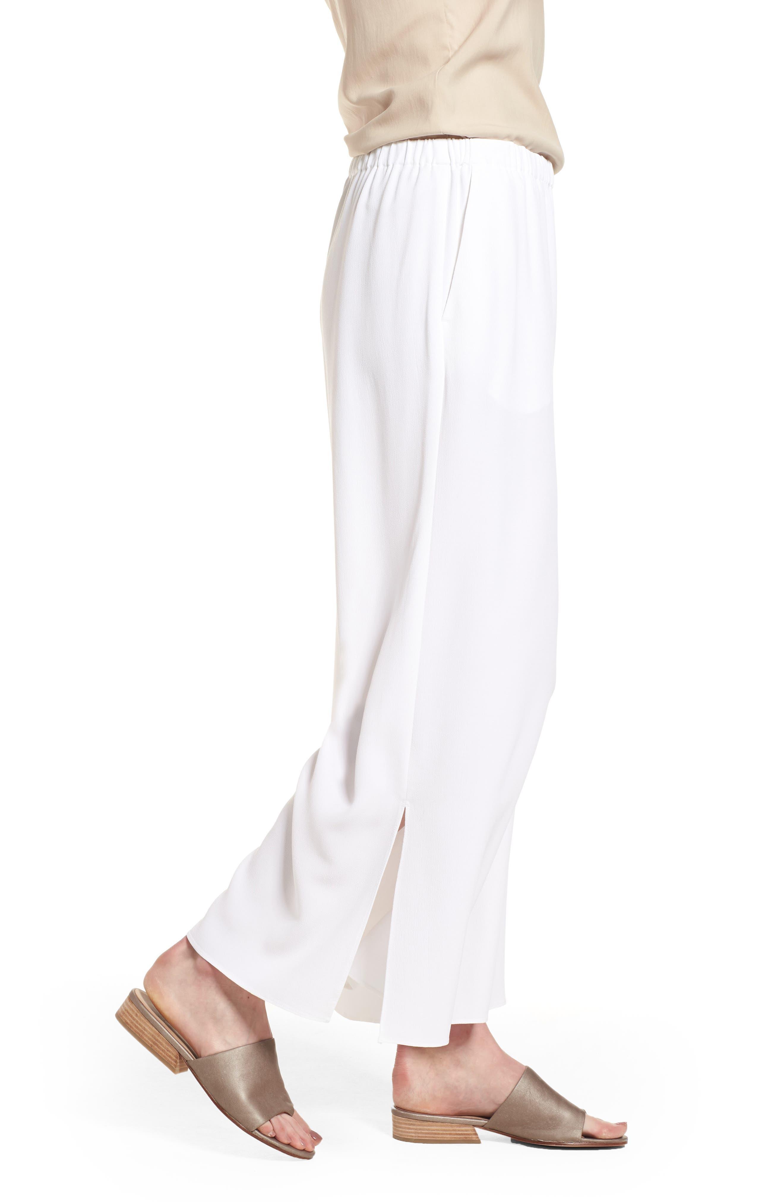 Wide Leg Ankle Pants,                             Alternate thumbnail 3, color,                             White