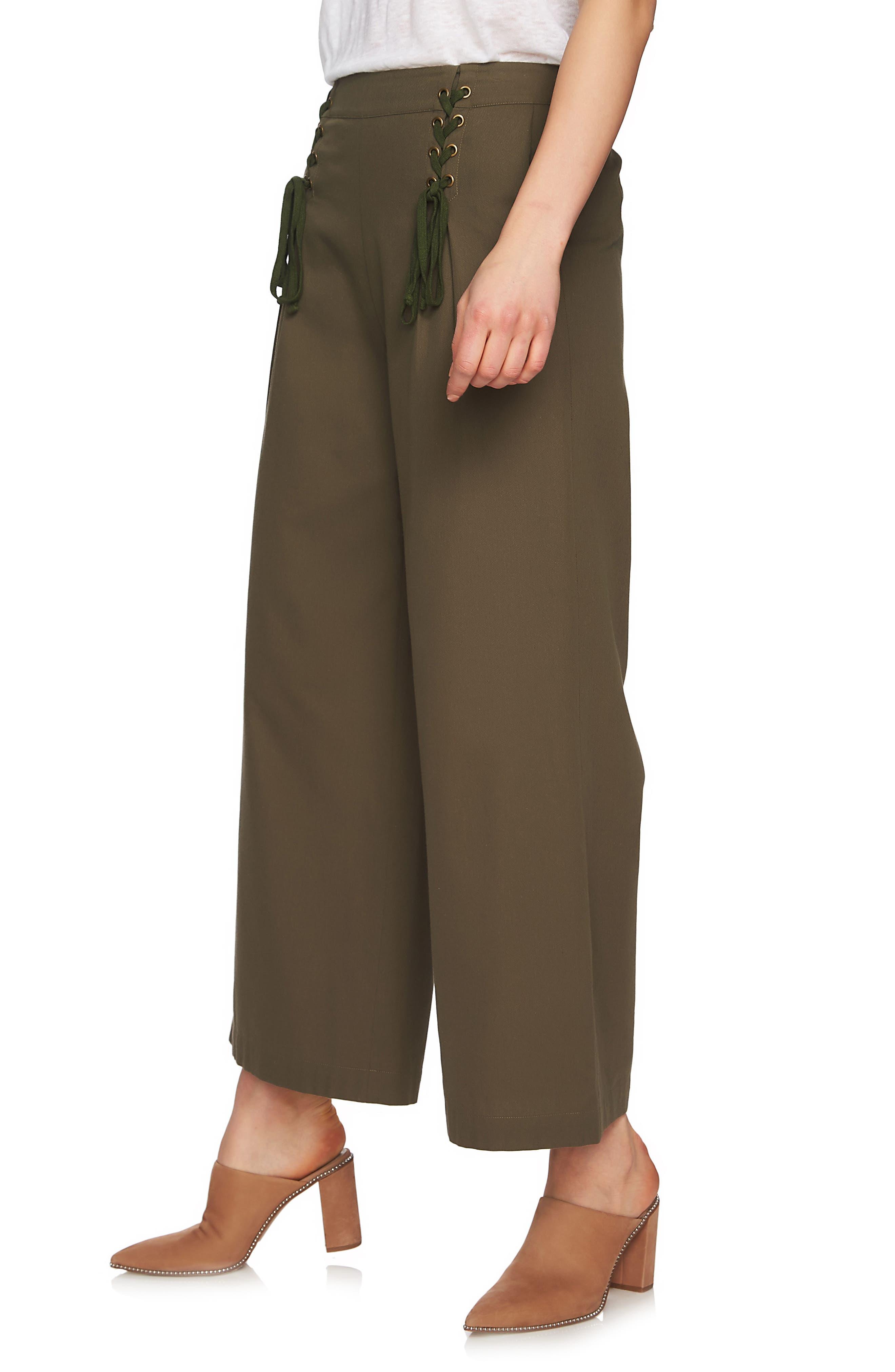 Lace-Up Detail Wide Leg Pants,                             Alternate thumbnail 4, color,                             Olive Tree