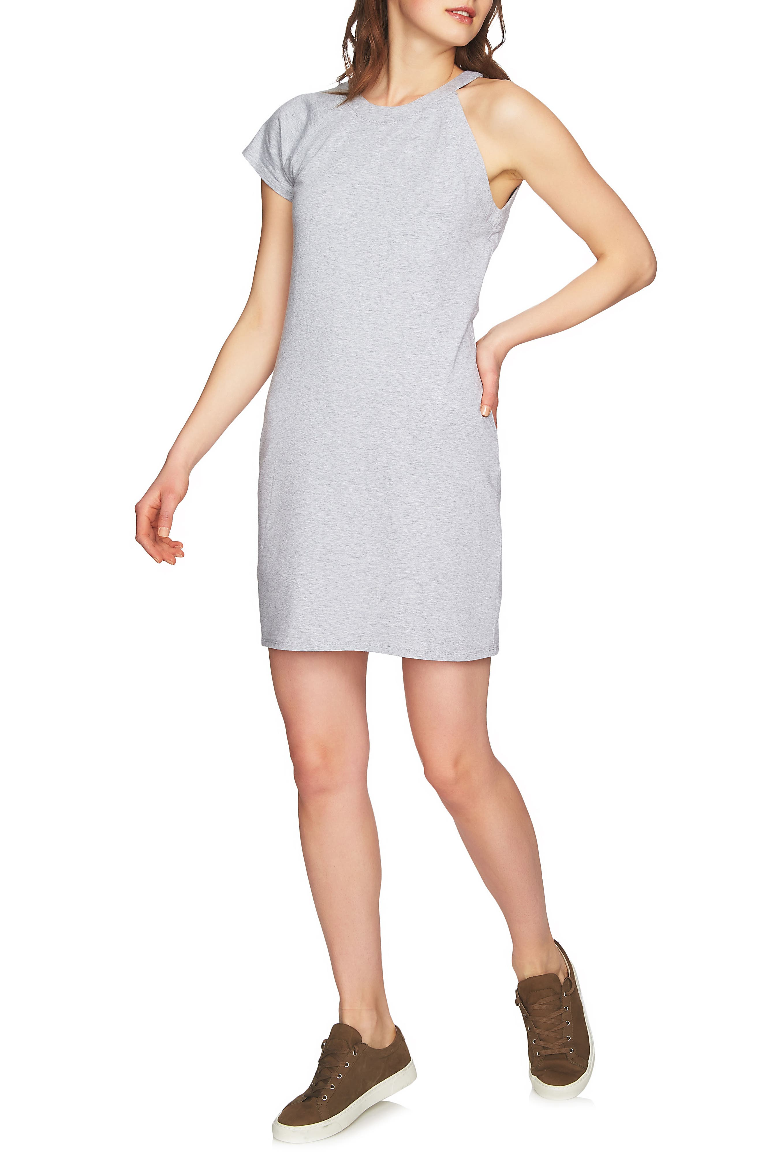 One-Sleeve Body-Con Dress,                             Alternate thumbnail 3, color,                             Light Heather Grey