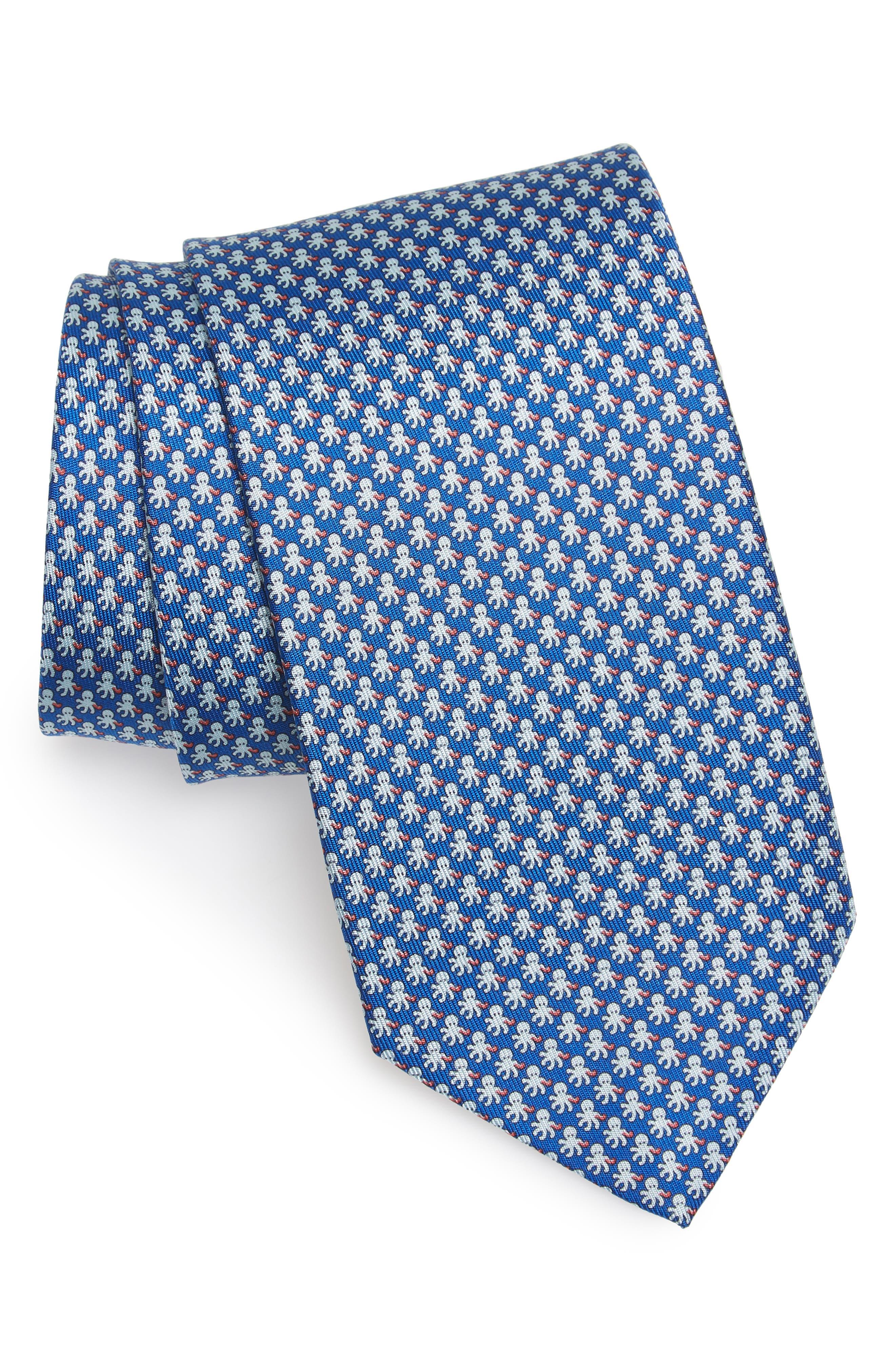 Ettore Print Silk Tie,                             Main thumbnail 1, color,                             Blue
