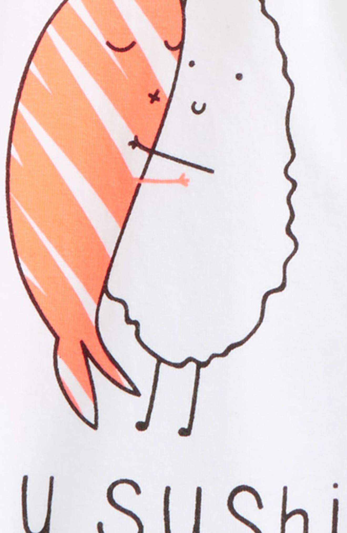 Love You Sushi Tee & Shorts Set,                             Alternate thumbnail 2, color,                             White/ Black