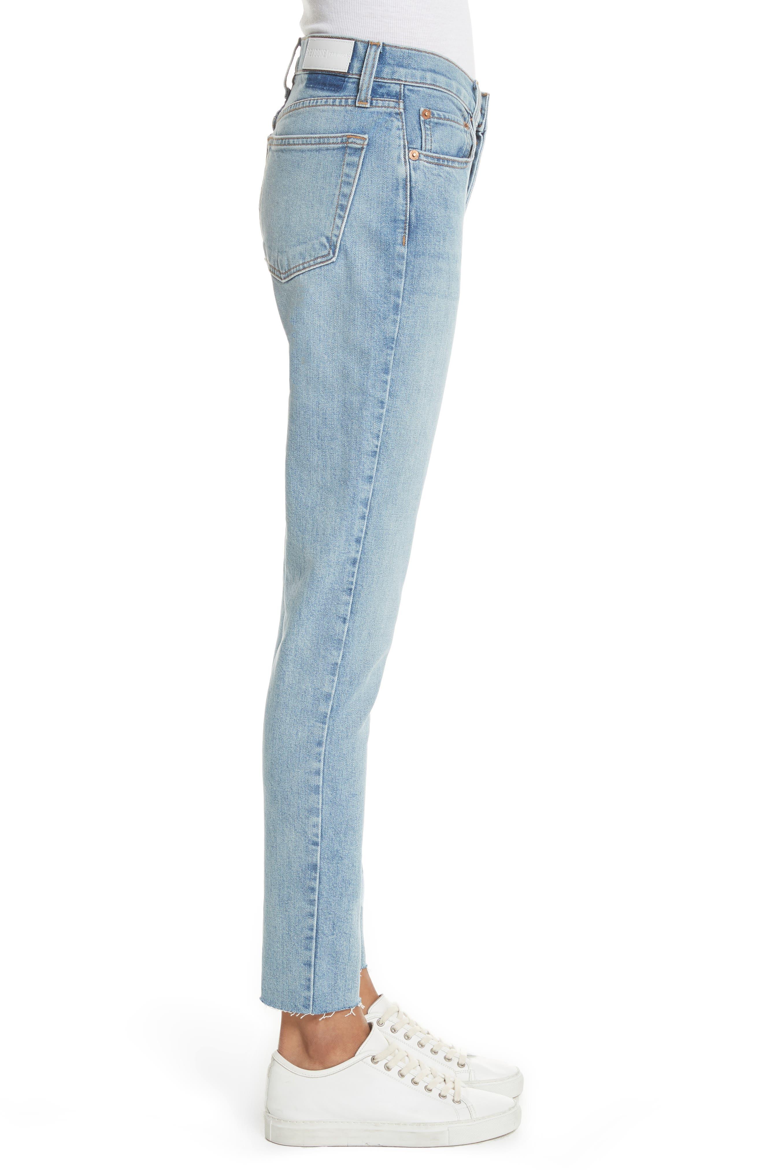 High Waist Crop Jeans,                             Alternate thumbnail 3, color,                             Dark Wash