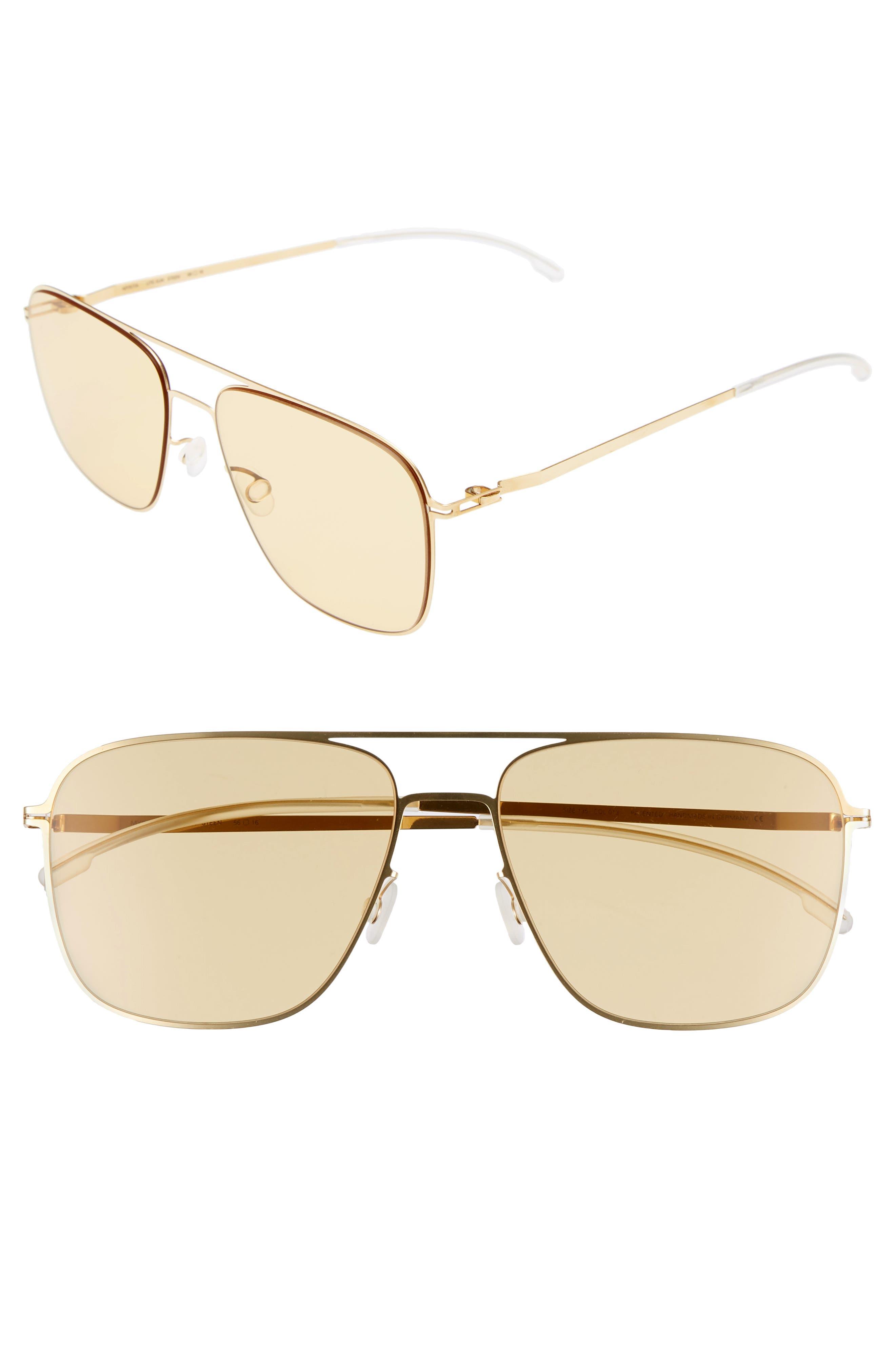 Steen 56mm Aviator Sunglasses,                             Main thumbnail 1, color,                             Glossy Gold