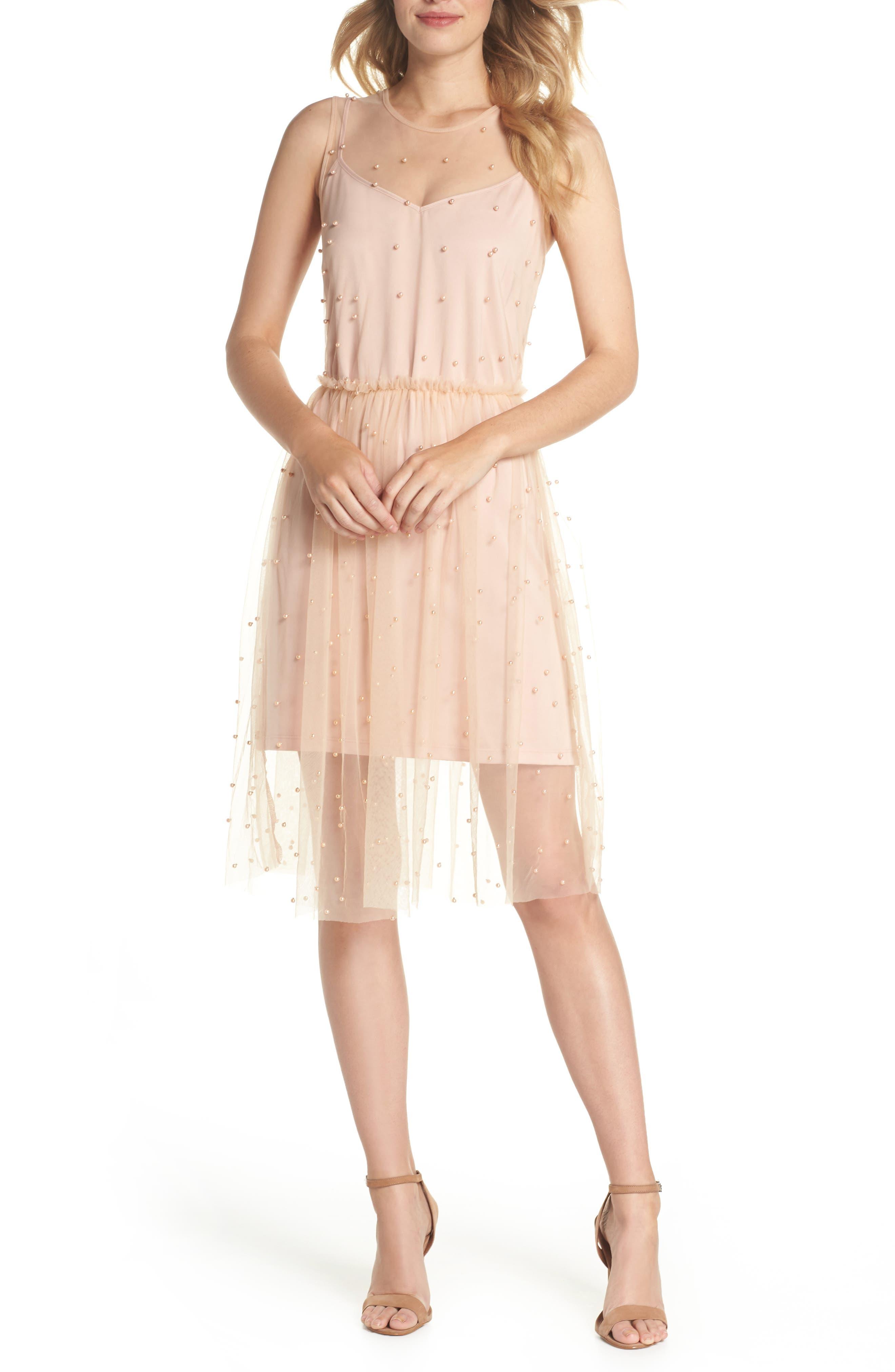 Imitation Pearl & Tulle Dress,                             Main thumbnail 1, color,                             Blush